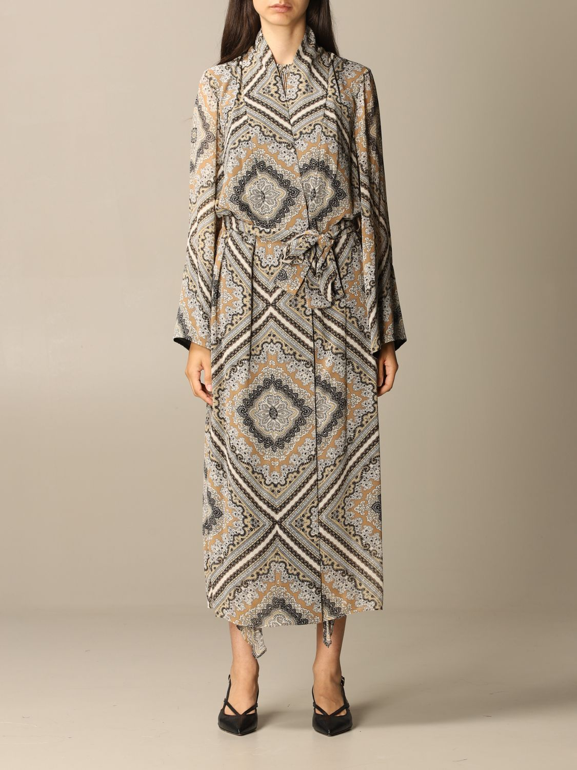 Michael Michael Kors Coat Long Michael Michael Kors Patterned Dressing Gown