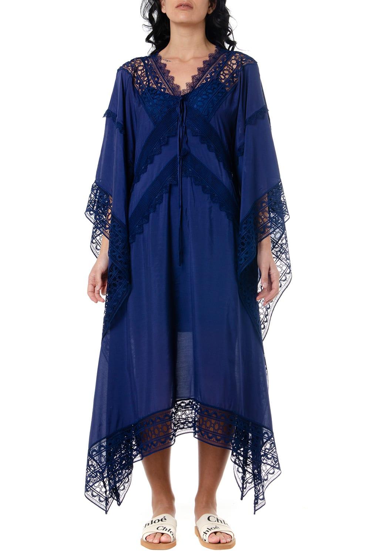Buy self-portrait Blue Fabric Oversized Kaftan Dress online, shop self-portrait with free shipping