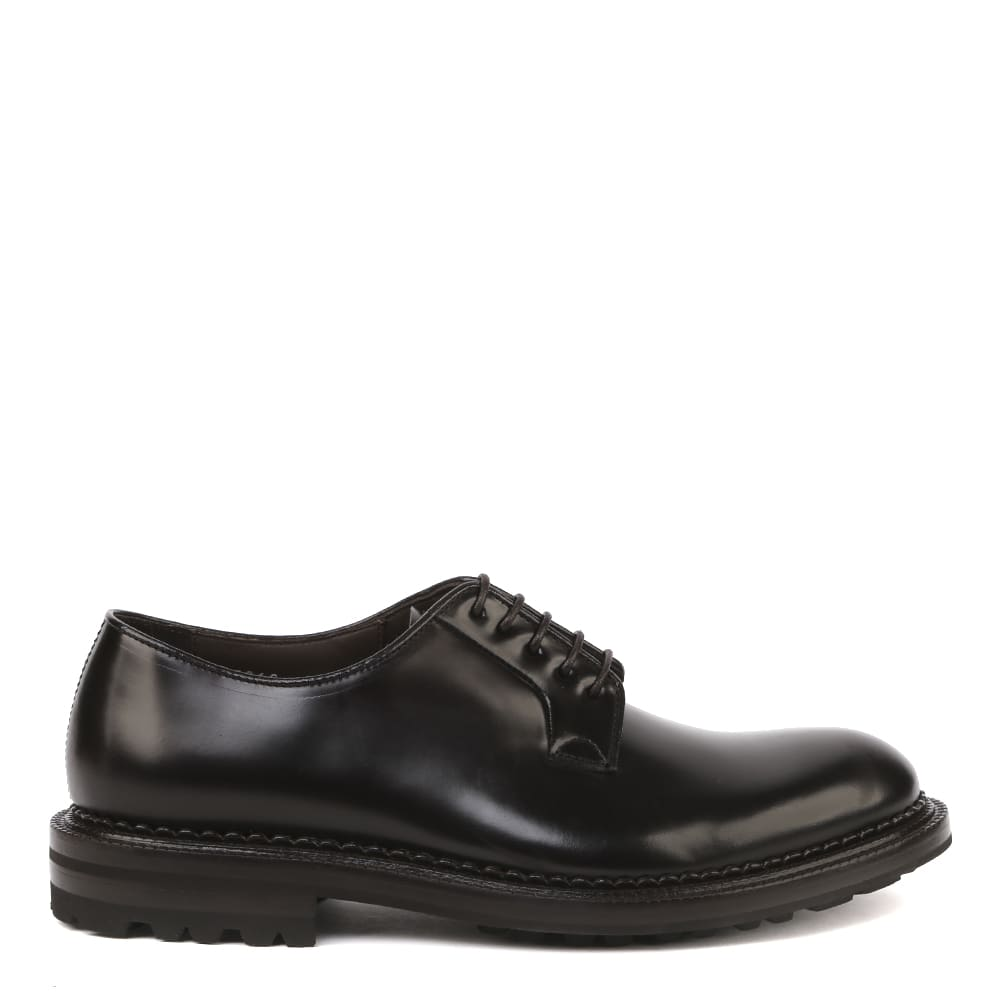 Derby Lace-up Shoes In Brushed Calfskin