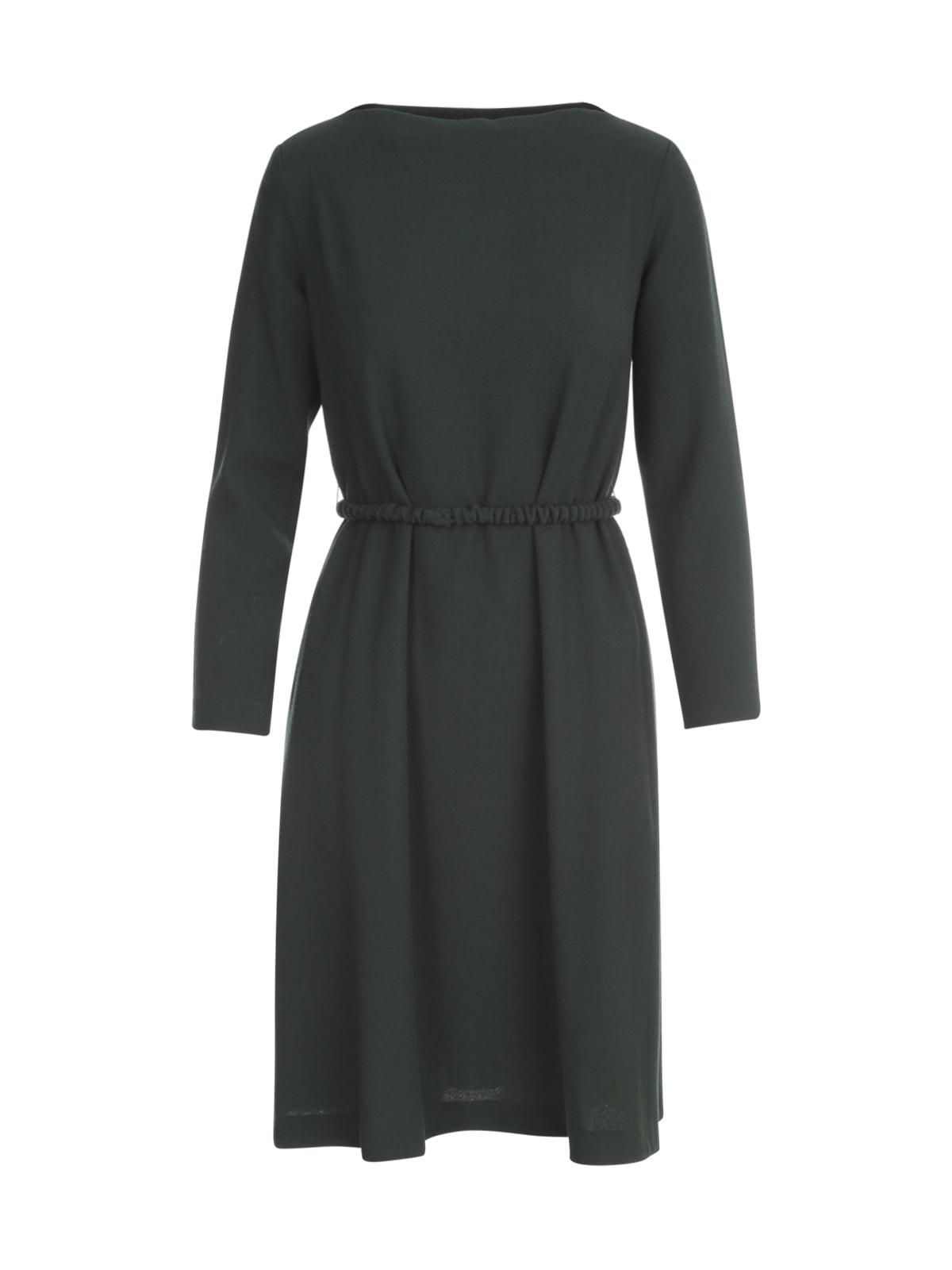 Crepe L/s Dress W/a Line Belted Skirt