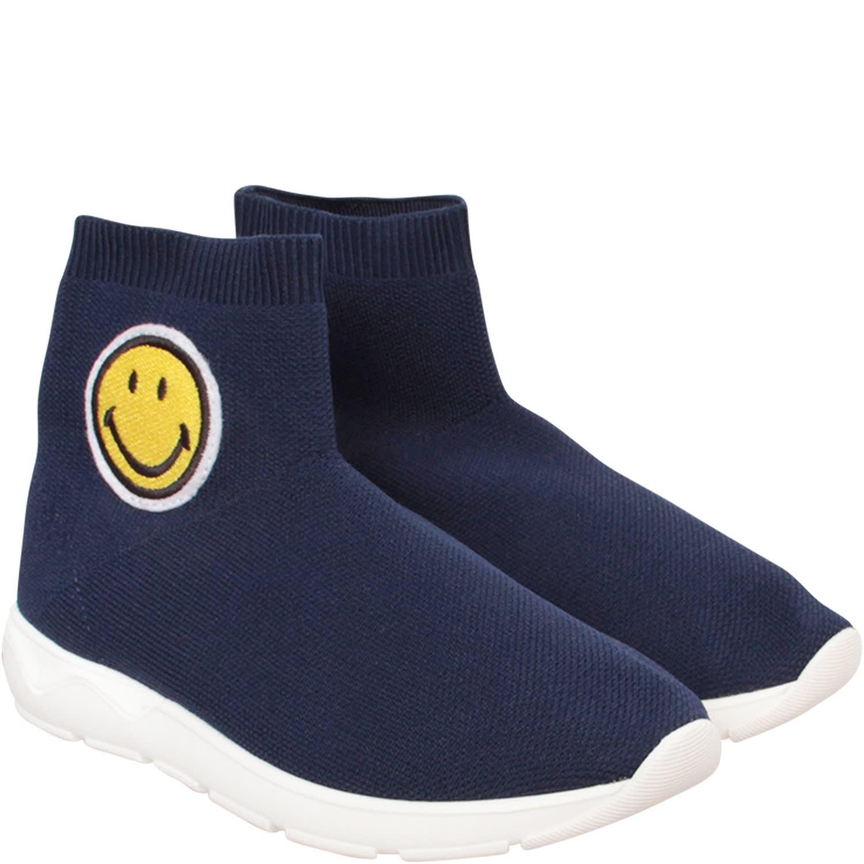 Blue Socks Sneaker With Smile