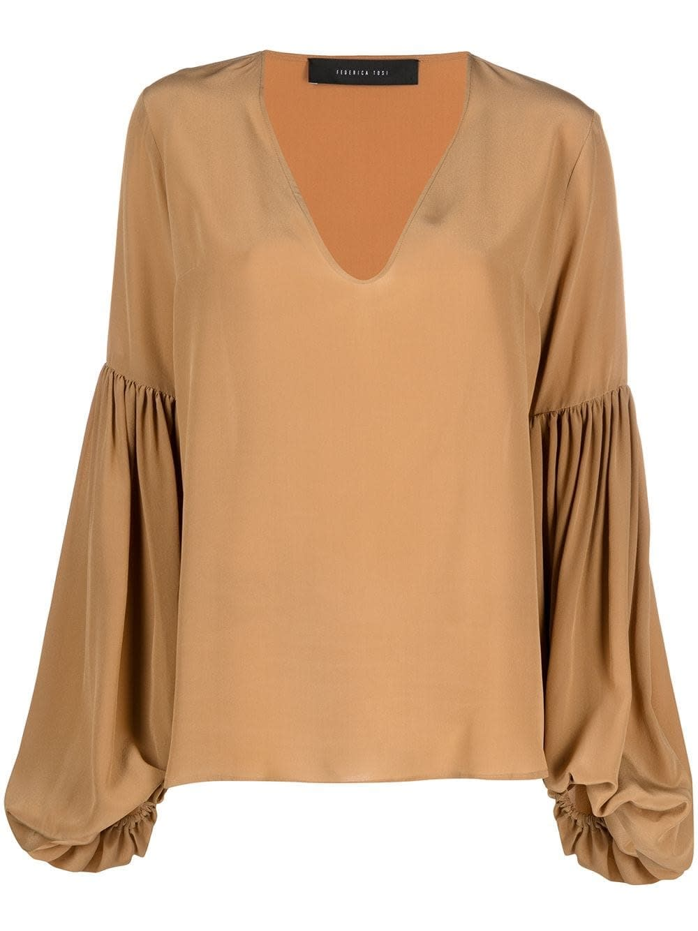 Federica Tosi CAMEL COLOR SILK BLOUSE WITH PUFF SLEEVES