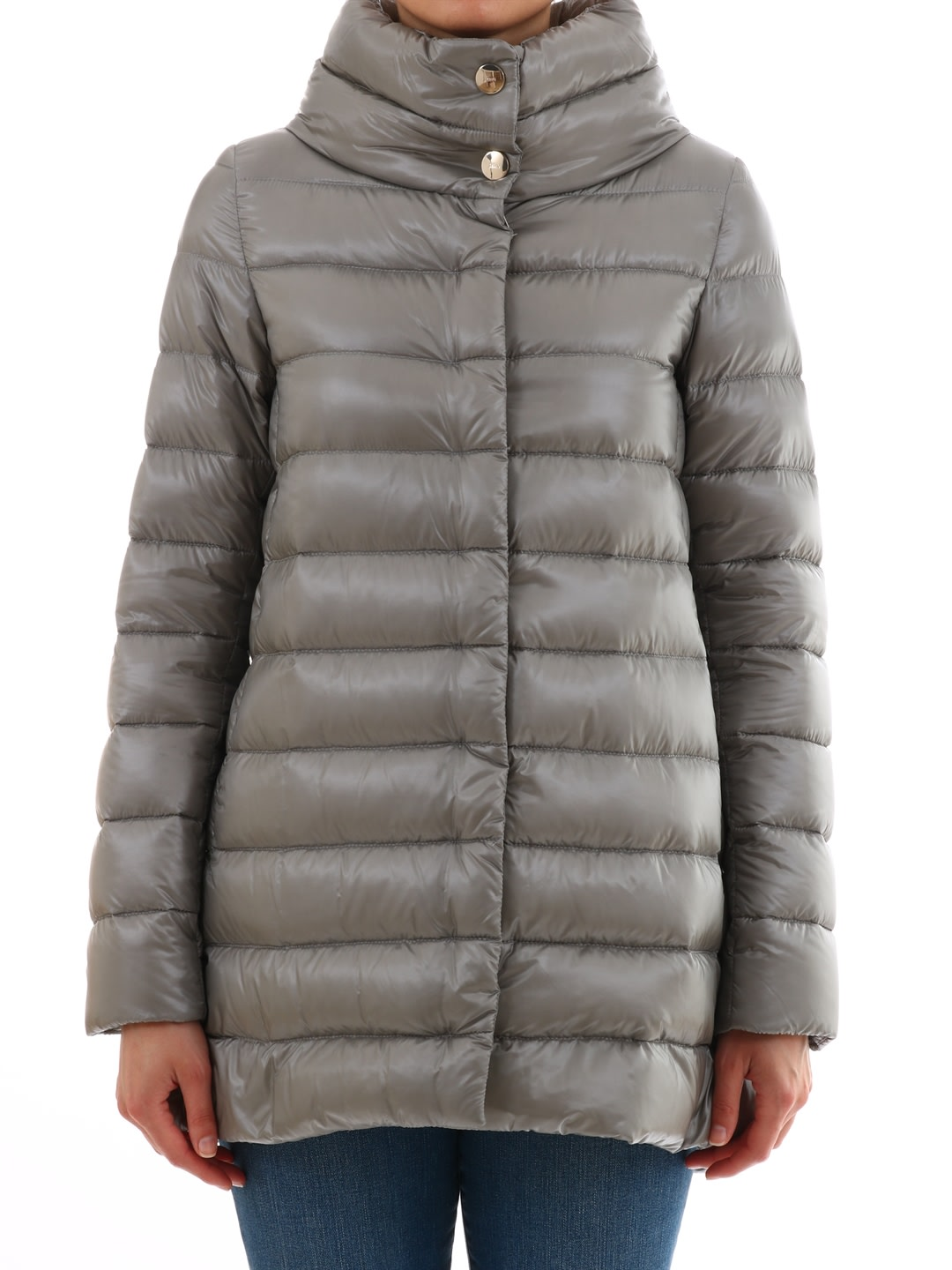 Herno Gray Nylon Down Amelia Jacket