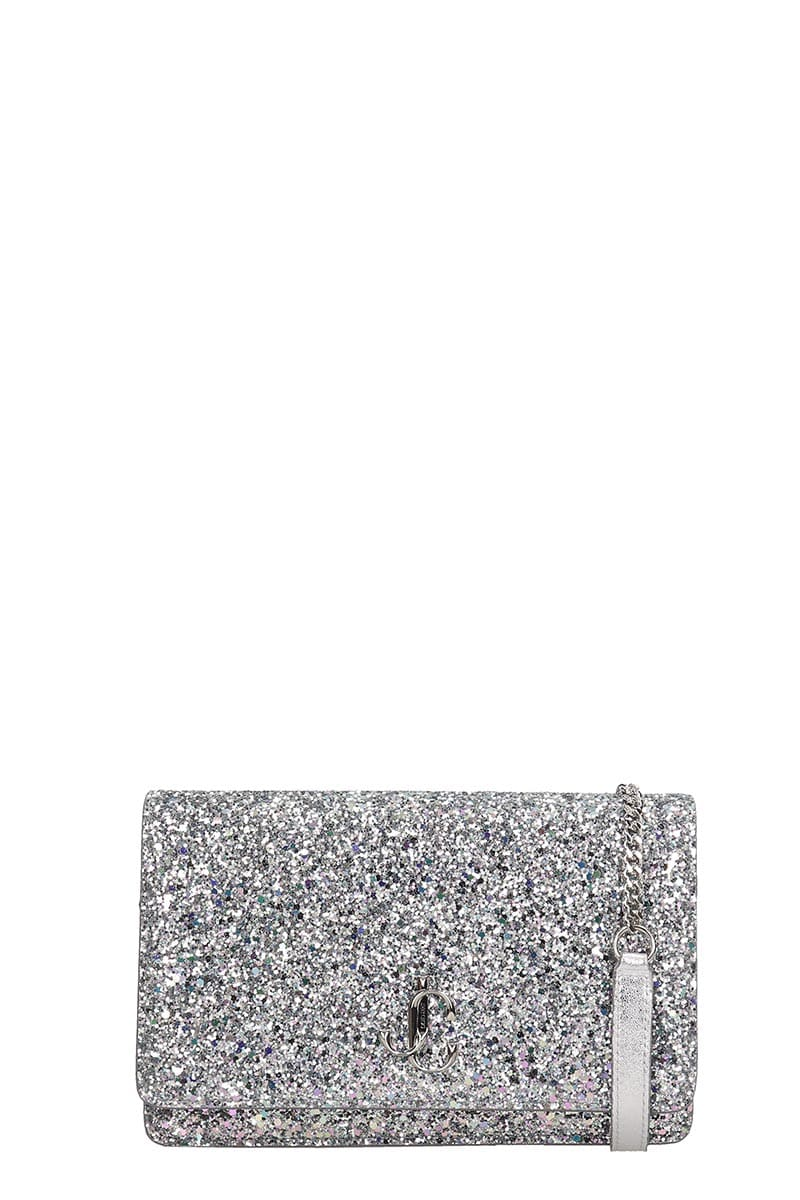 Jimmy Choo Palace Clutch In Silver Leather