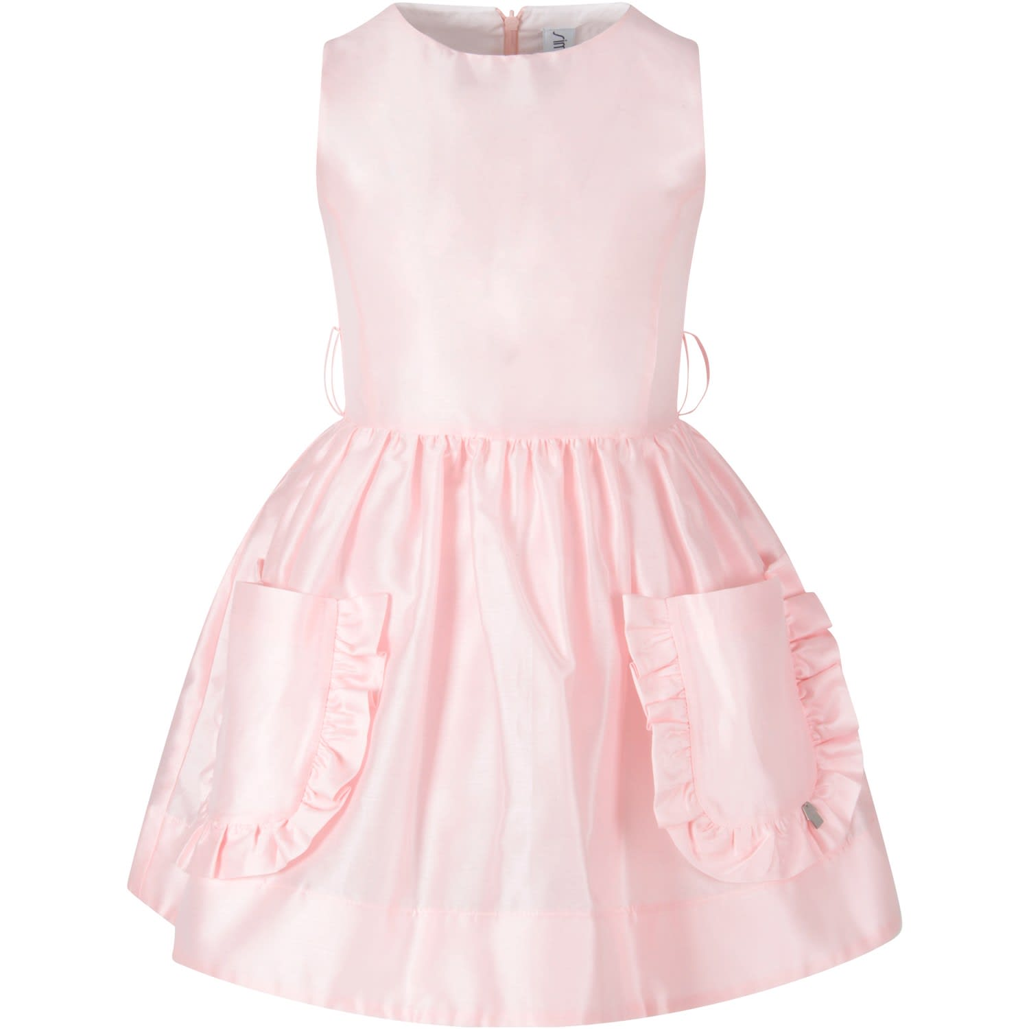 Buy Simonetta Pink Girl Dress With Iconic Logo online, shop Simonetta with free shipping