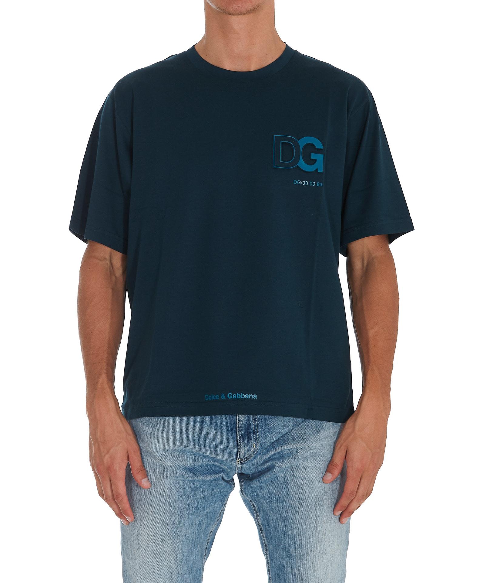 Dolce & Gabbana Tridimensional Dg Logo T-shirt In Blue