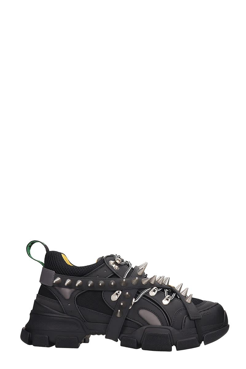 Gucci Flashtrek Sneakers In Black Leather And Fabric