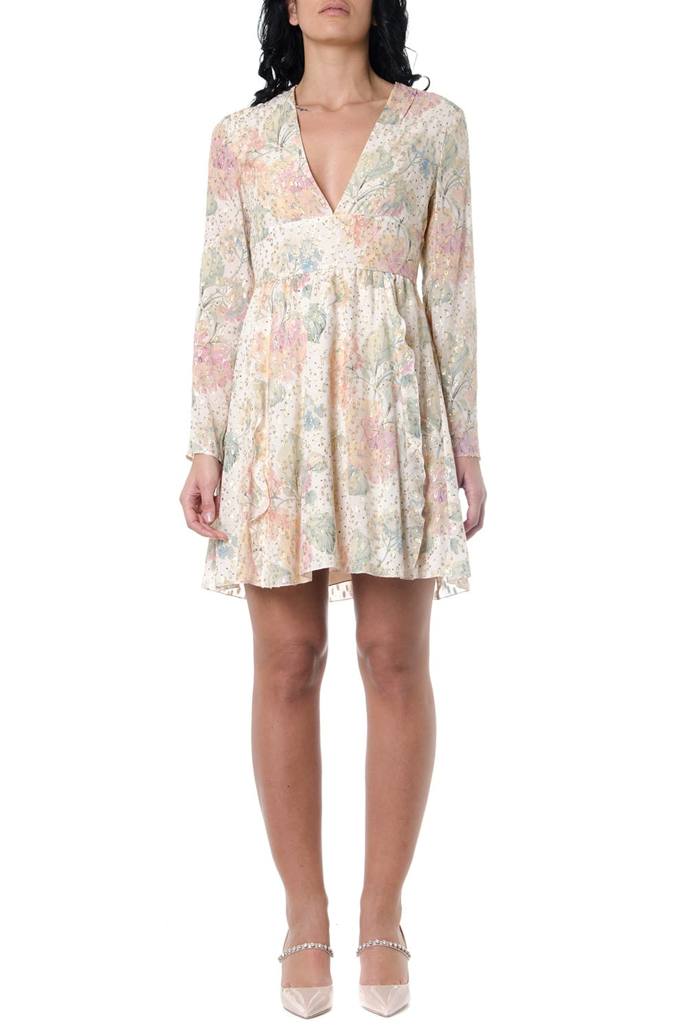 Buy RED Valentino Floral-print Dress With Metallic Embroidery online, shop RED Valentino with free shipping