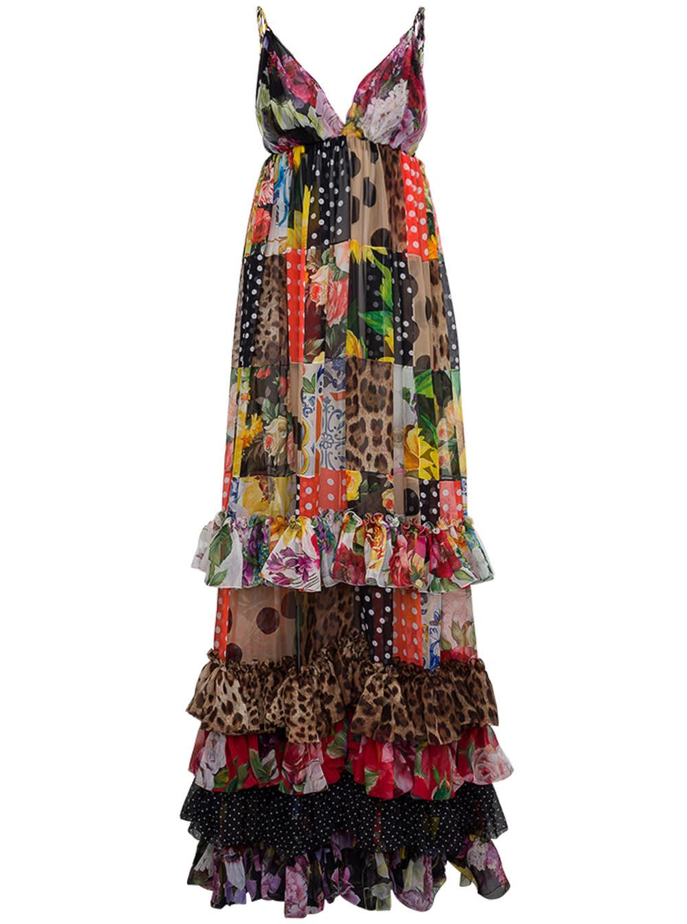 Dolce & Gabbana LONG PATCHWORK CHIFFON DRESS WITH FLORAL PRINT