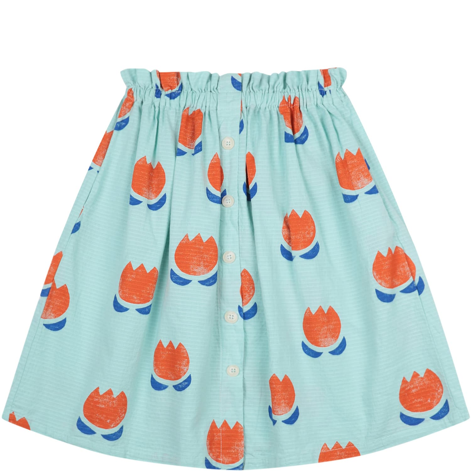Bobo Choses GREEN SKIRT FOR GIRL WITH FLOWERS