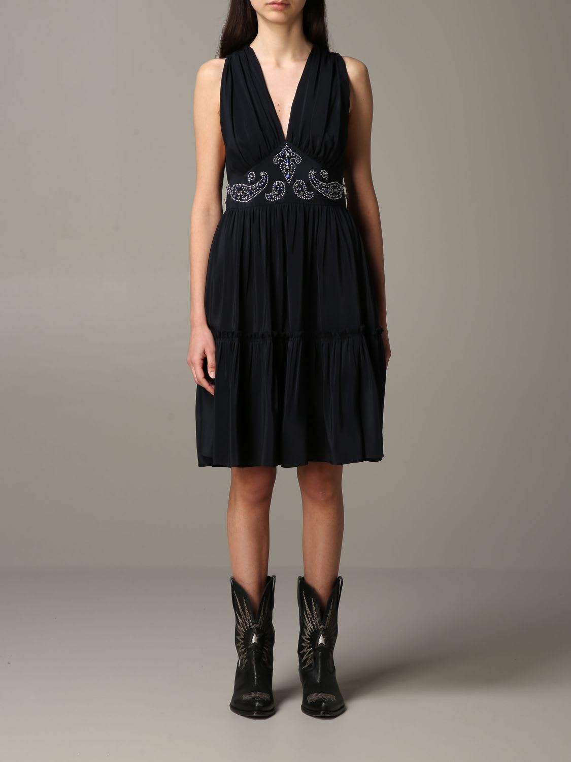 Buy Golden Goose Dress Golden Goose Silk Dress With Texas-style Details online, shop Golden Goose with free shipping