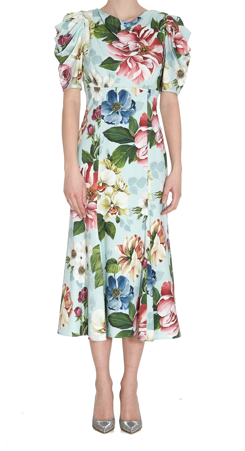 Buy Dolce & Gabbana Cady Dress With Flower Print online, shop Dolce & Gabbana with free shipping