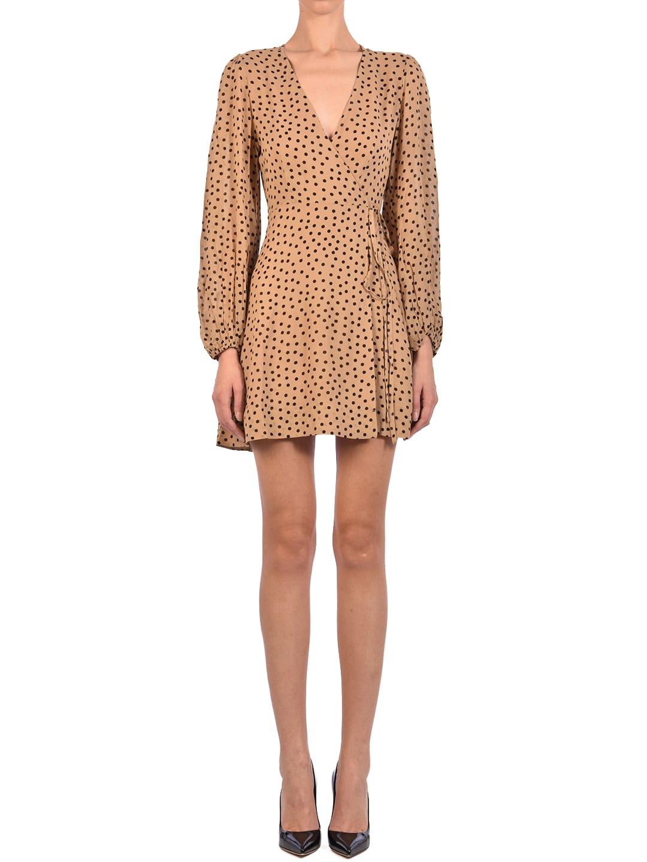 Buy Ganni Wrapp Dress Beige online, shop Ganni with free shipping
