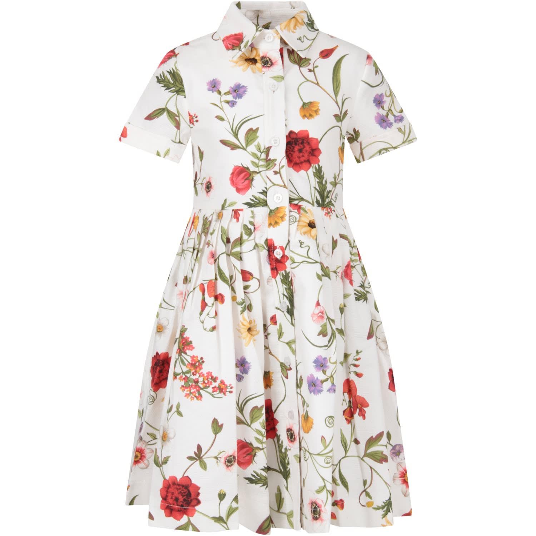 Buy Oscar de la Renta White Dress With Flowers For Girl online, shop Oscar de la Renta with free shipping