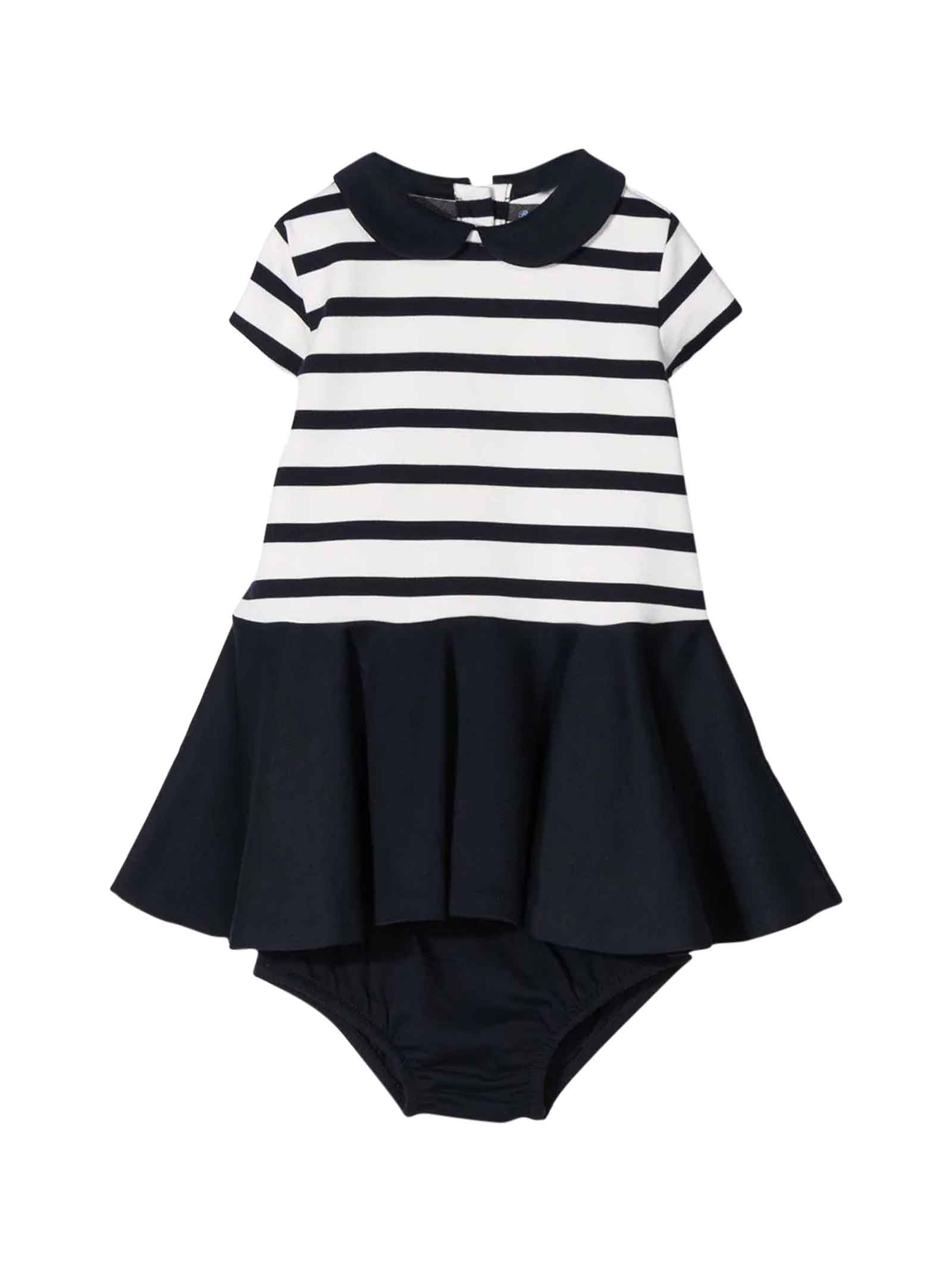 Buy Ralph Lauren White And Blue Baby Dress online, shop Ralph Lauren with free shipping