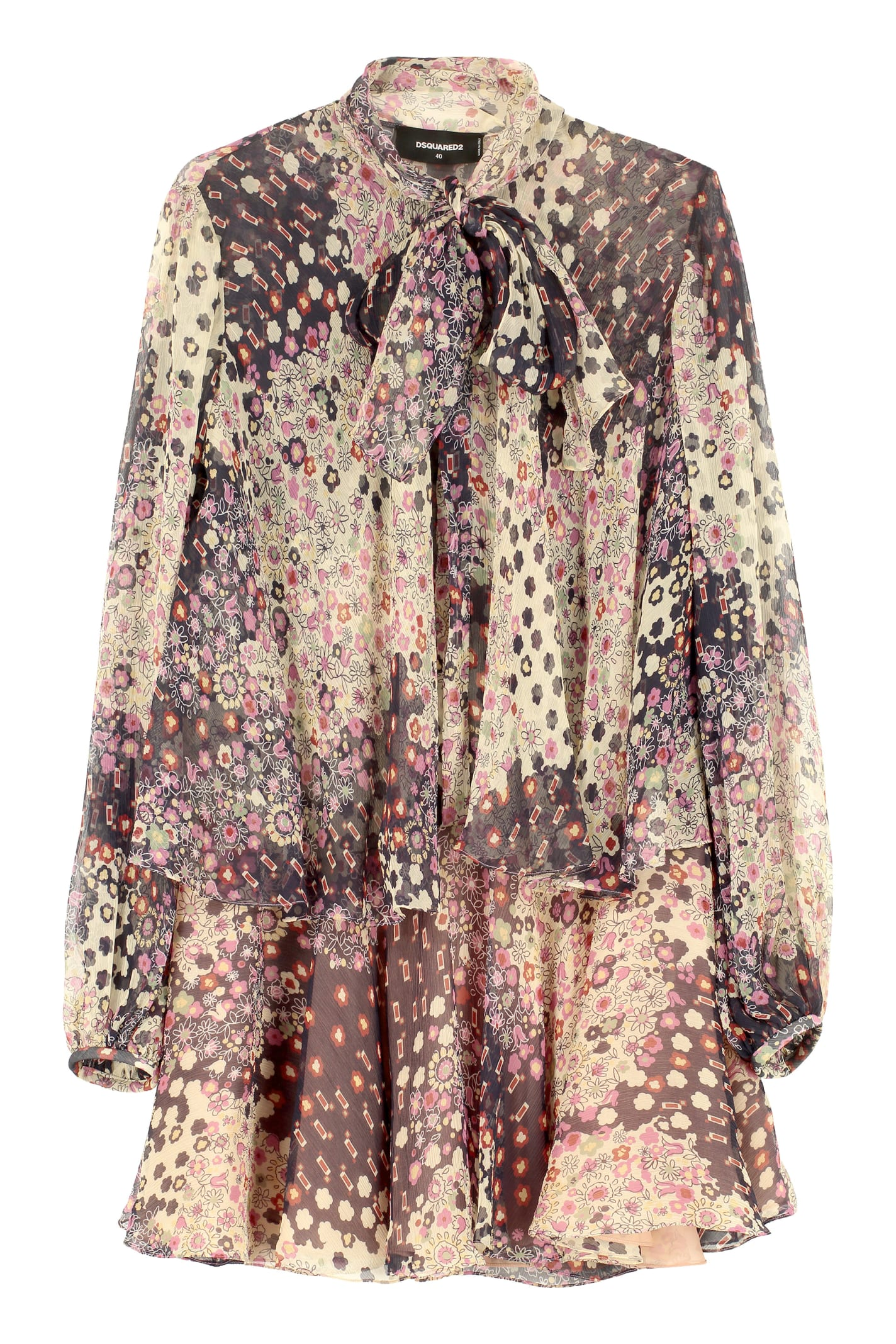 Buy Dsquared2 Printed Silk Dress online, shop Dsquared2 with free shipping