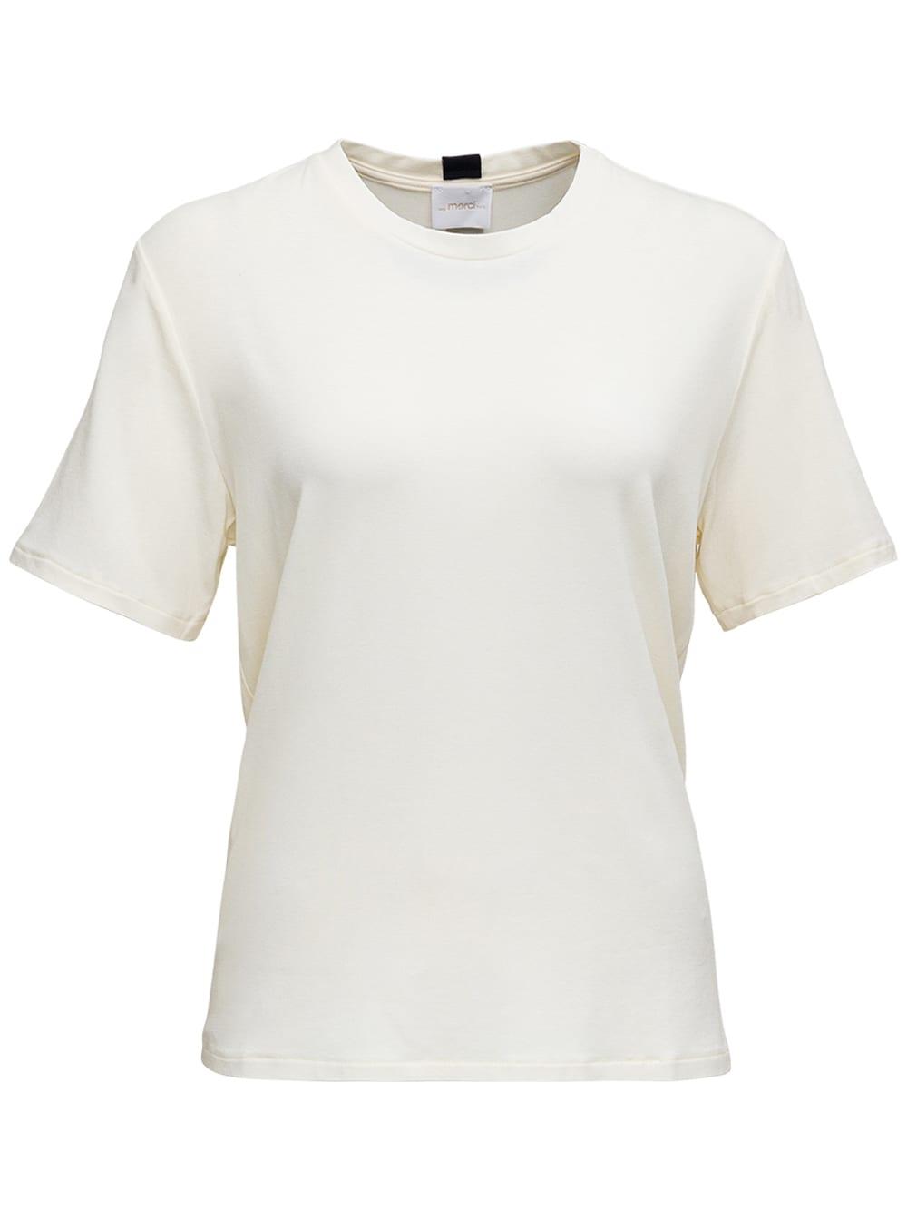 White Round Neck T-shirt In Viscose Blend