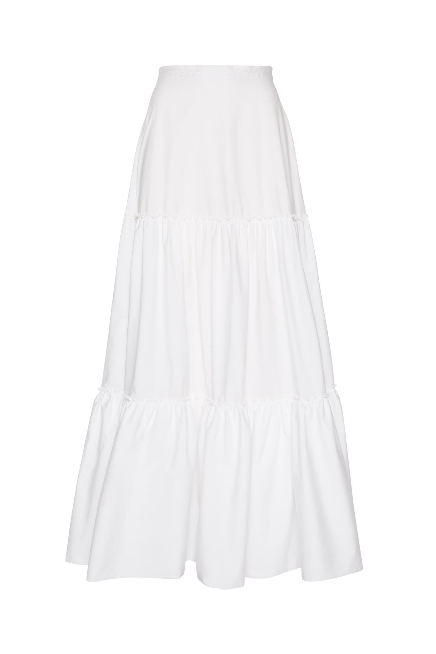 Charlotte Long Skirt In White Poplin