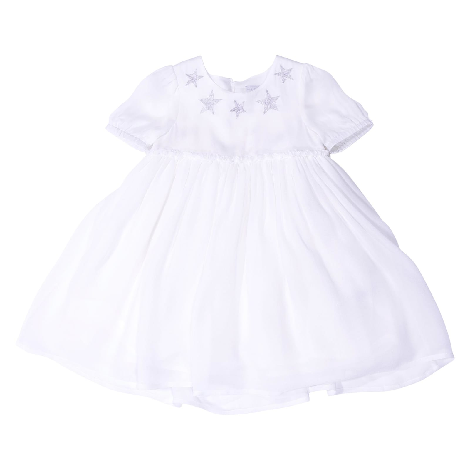 Photo of  Stella McCartney White Baby Girl Silk & Tulle Dress With Diaper Cover- shop Stella McCartney  online sales