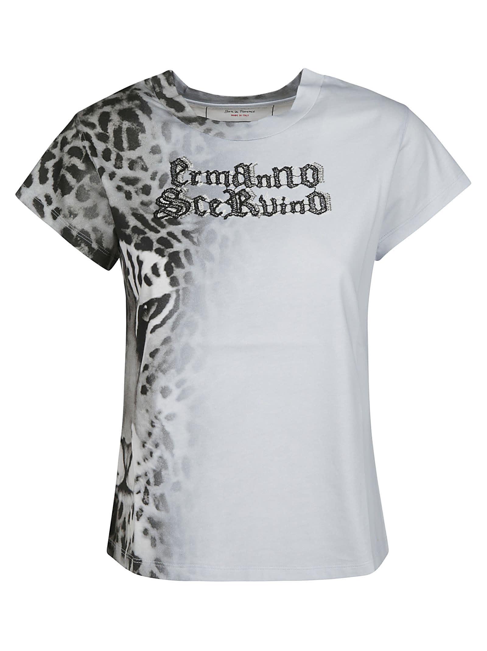Ermanno Scervino TIGER PRINT LOGO EMBROIDERED T-SHIRT