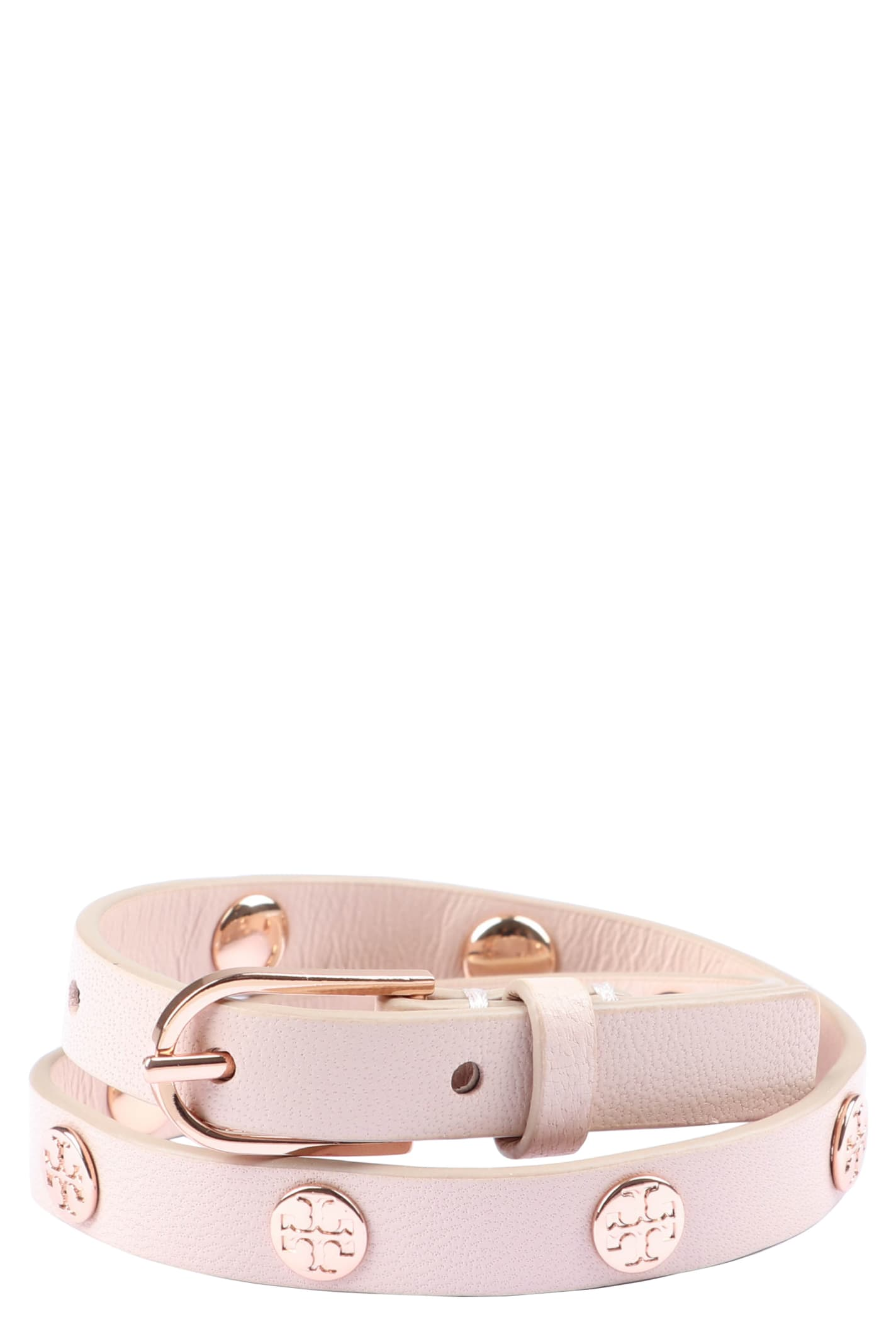 Tory Burch Studded Leather Double-wrap Bracelet