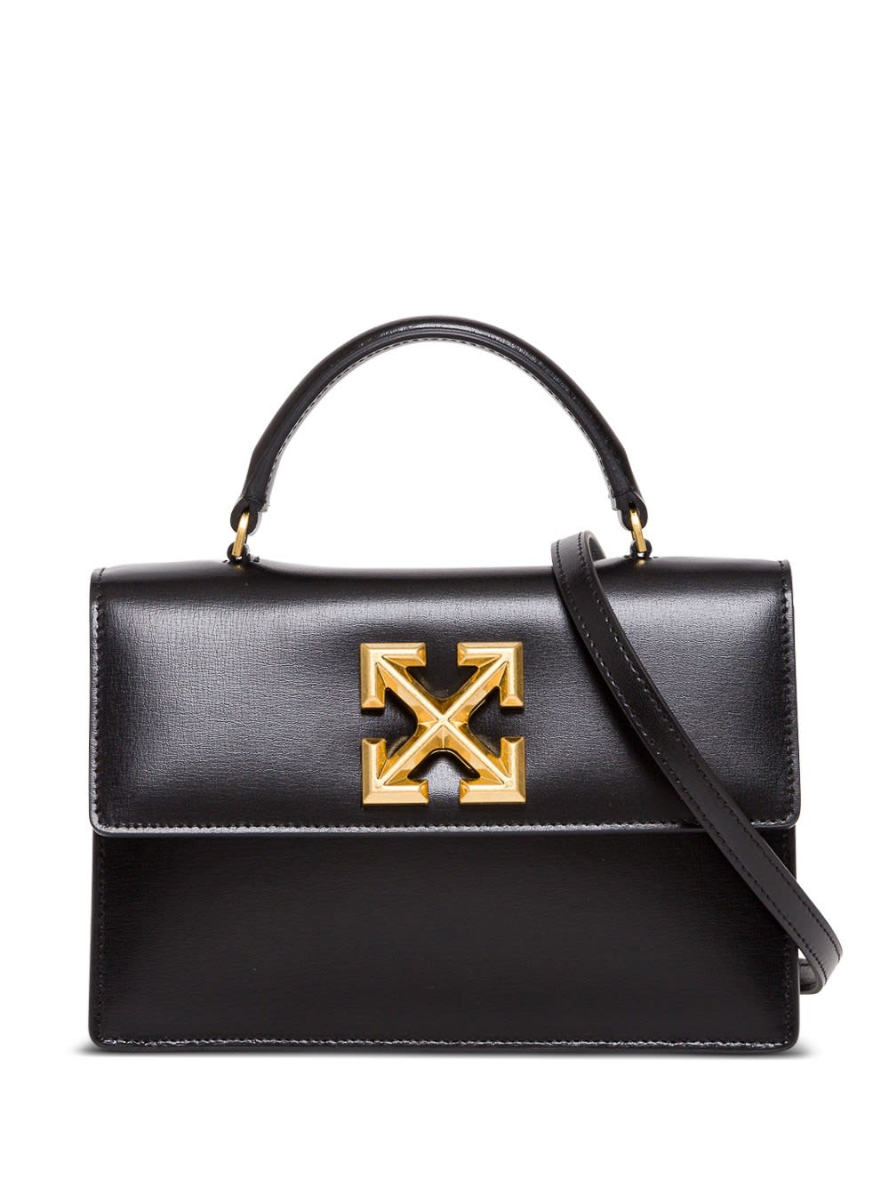 Off-white Twist Jitney 1.4 Crossbody Bag In Black Leather