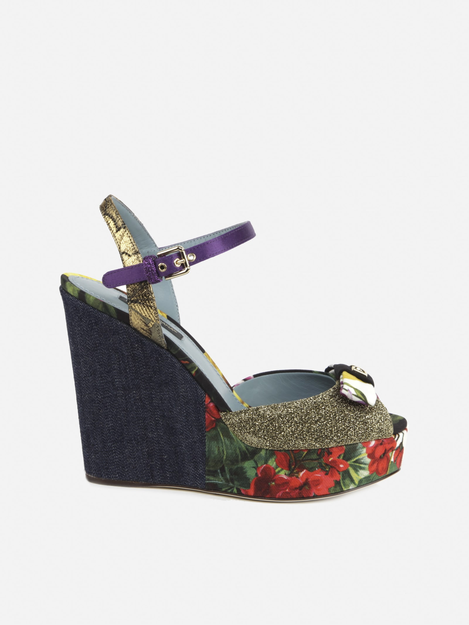Dolce & Gabbana Sandals WEDGES MADE OF PATCHWORK FABRICS WITH MONOGRAM BOW