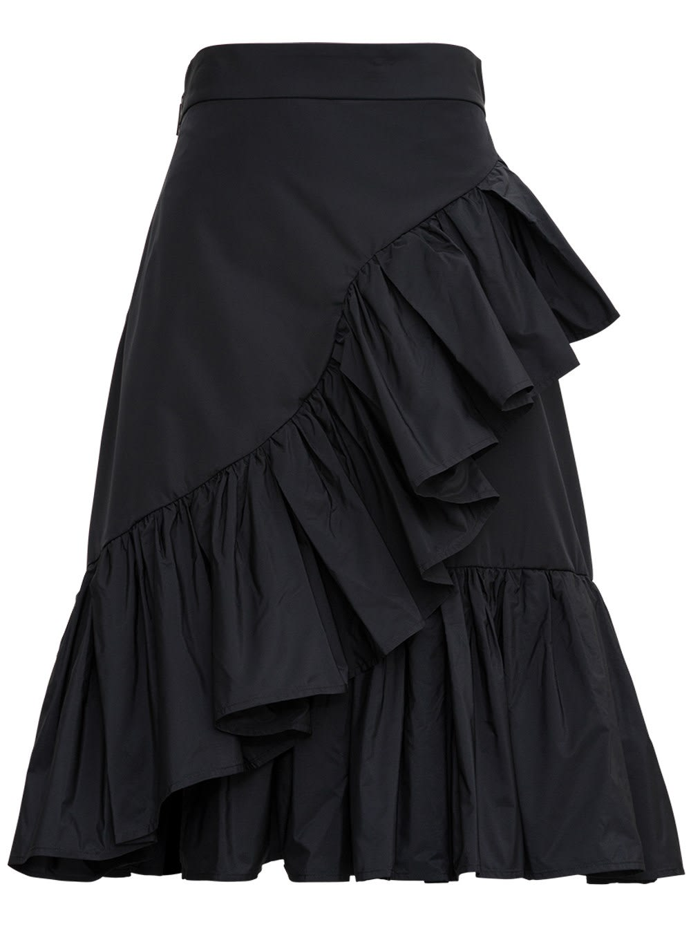 Msgm Cottons BLACK SKIRT WITH RUFFLE DETAIL