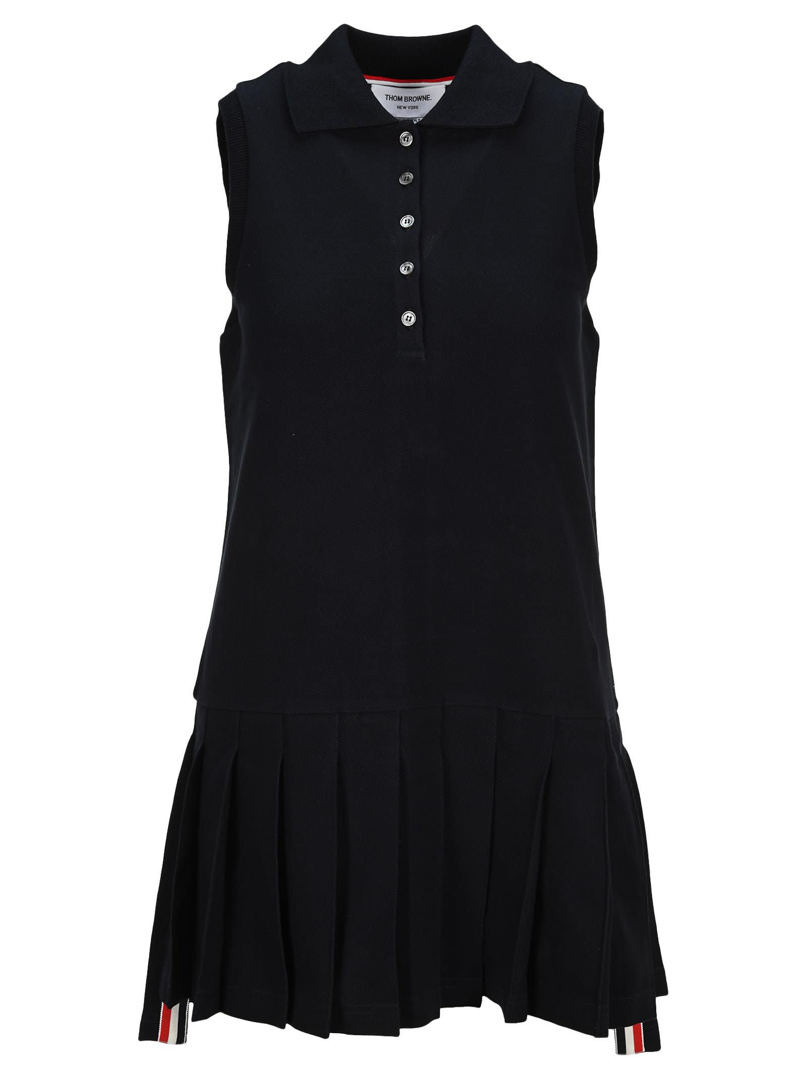 Buy Thom Browne Rwb Stripe Sleeveless Pleated Tennis Dress online, shop Thom Browne with free shipping