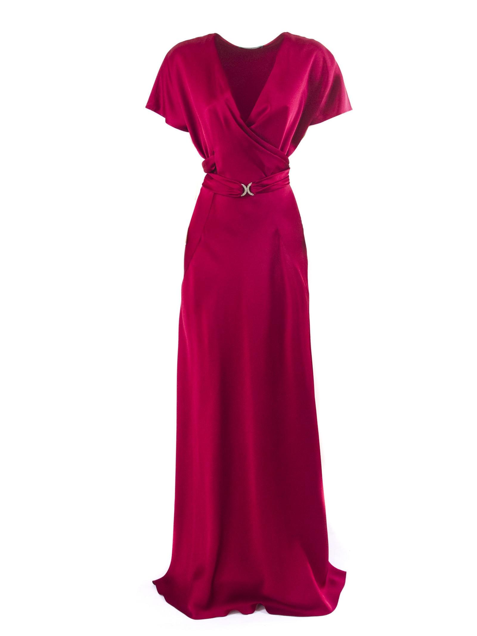 Alberta Ferretti Dress In Red Enver Satin