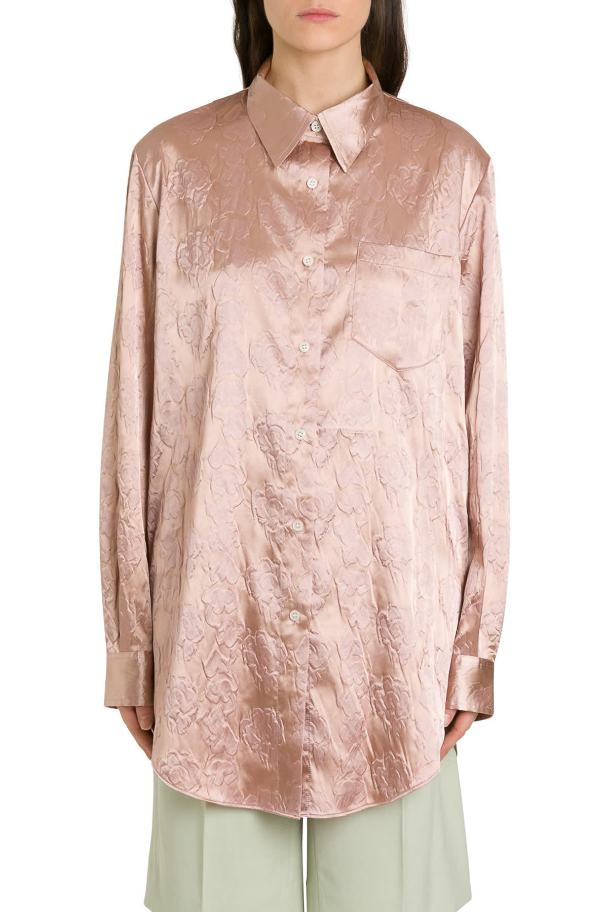 Acne Studios Sophi Shirt With Embossed Floral Motif