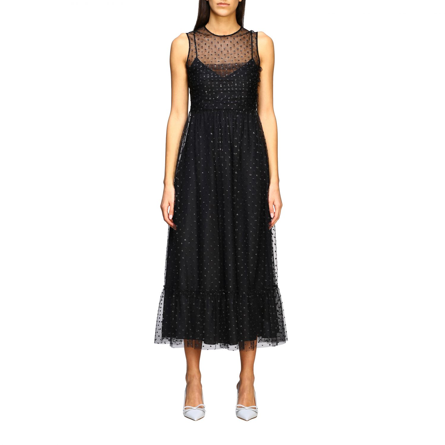 Buy Red Valentino Dress Long Red Valentino Dress In Tulle With Glitter Polka Dots online, shop RED Valentino with free shipping