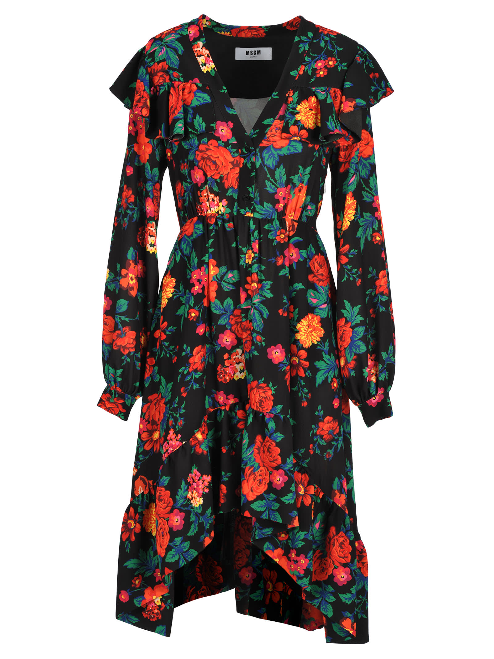 Photo of  Msgm Msgm Flared Floral Print Dress- shop MSGM  online sales