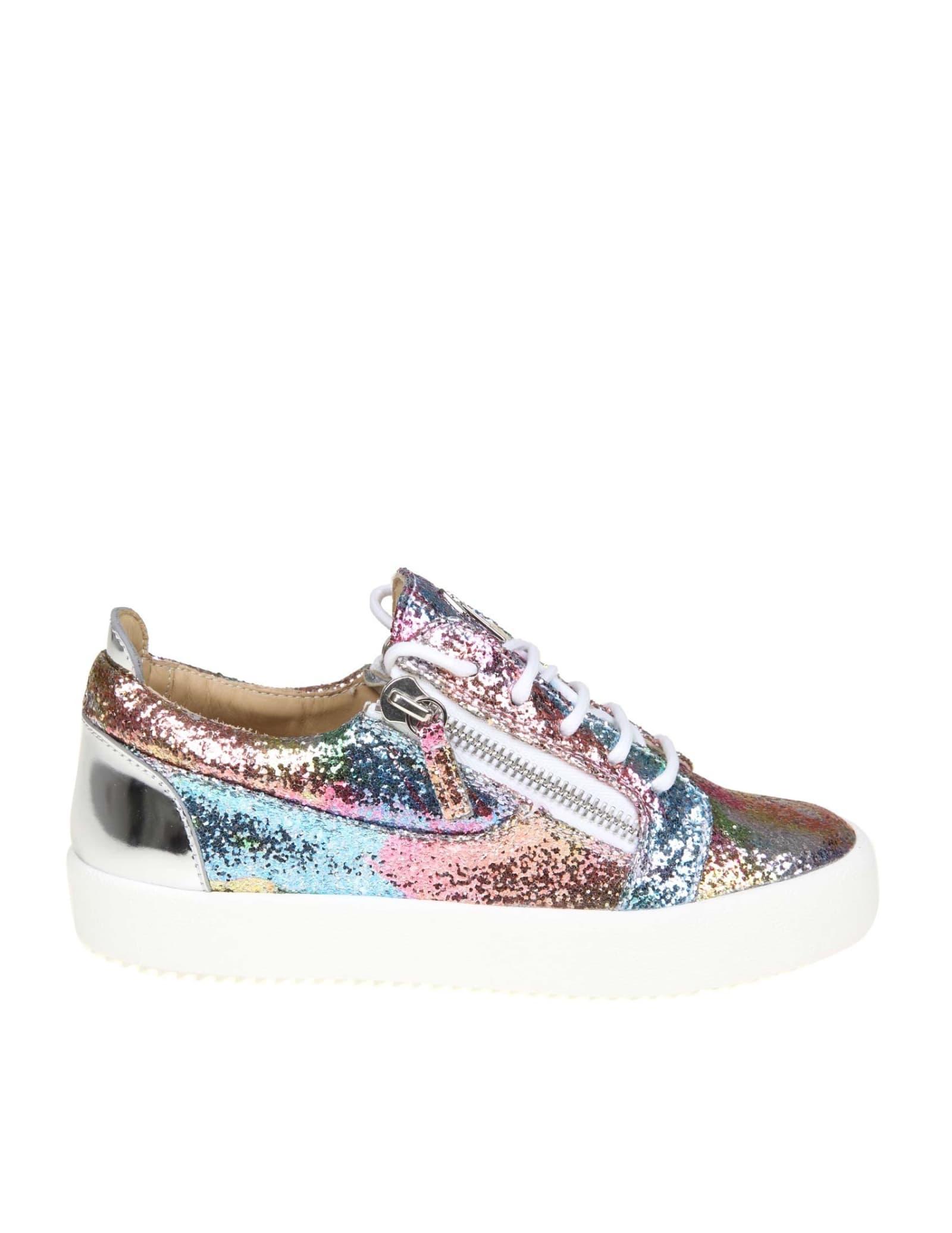 88b92b9286d05 Giuseppe Zanotti Sneakers Giuseppe Zanotti Fabric Glittery Multicolor -  Multicolor ...