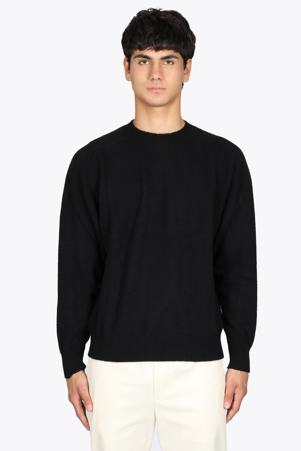 Black Wool Crewneck Sweater