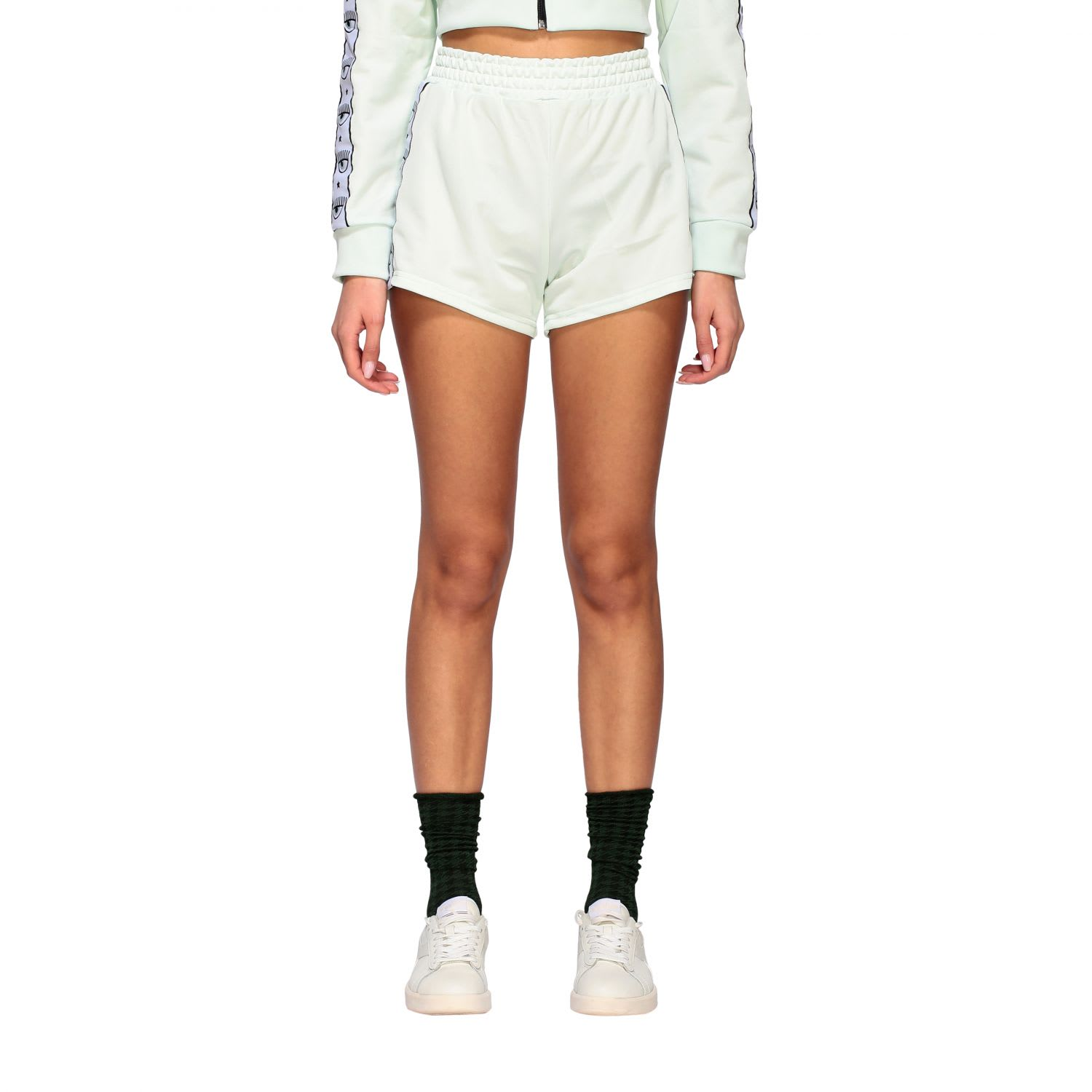 Chiara Ferragni Acetate Shorts With Logoed Bands In Mint