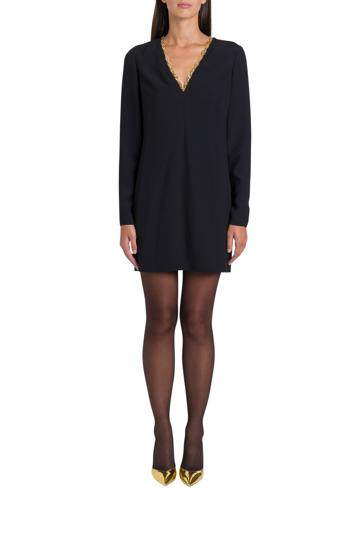 Buy Versace Greek Detailed Sheath Dress online, shop Versace with free shipping