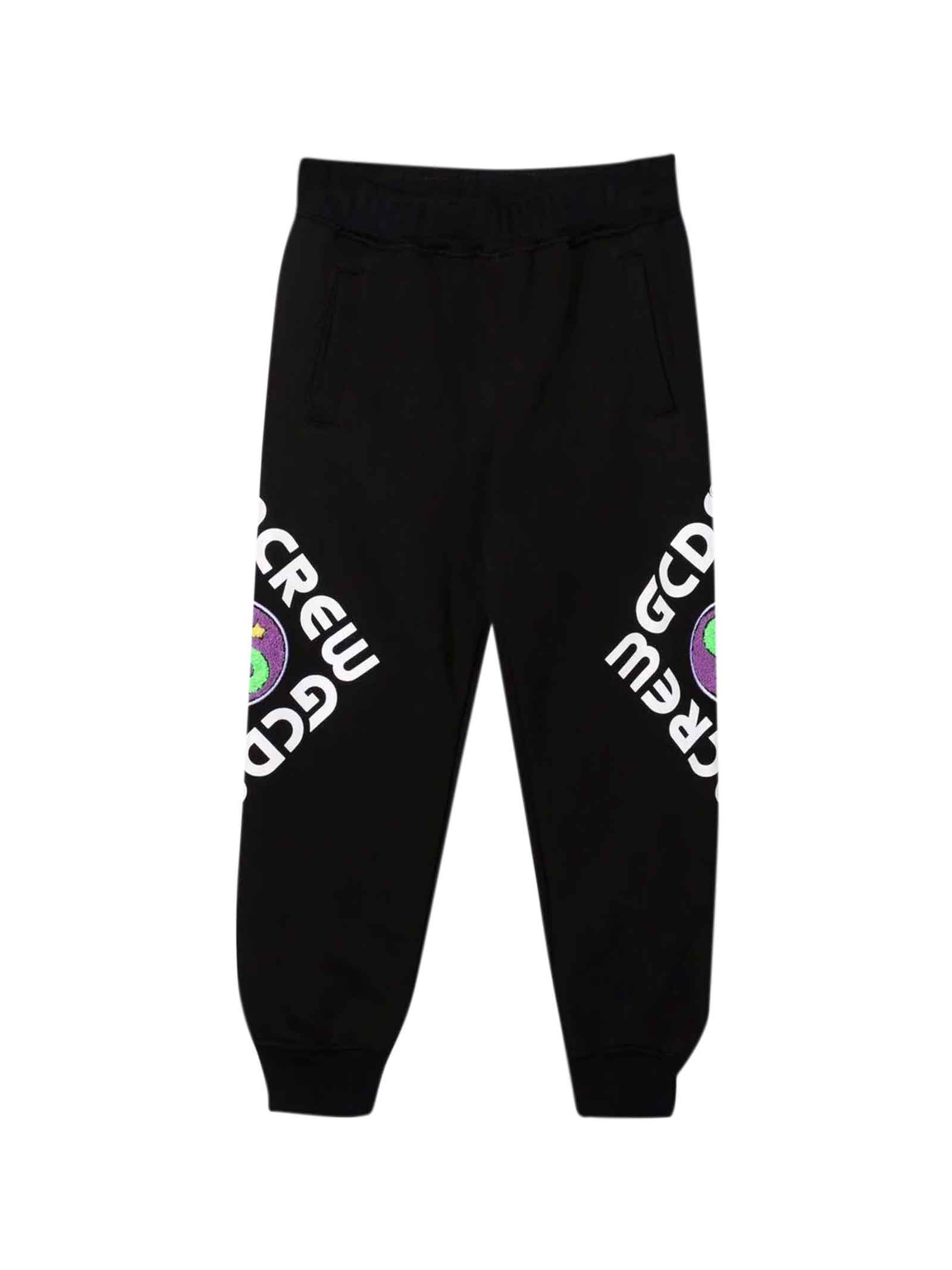 Black Trousers With Multicolor Print