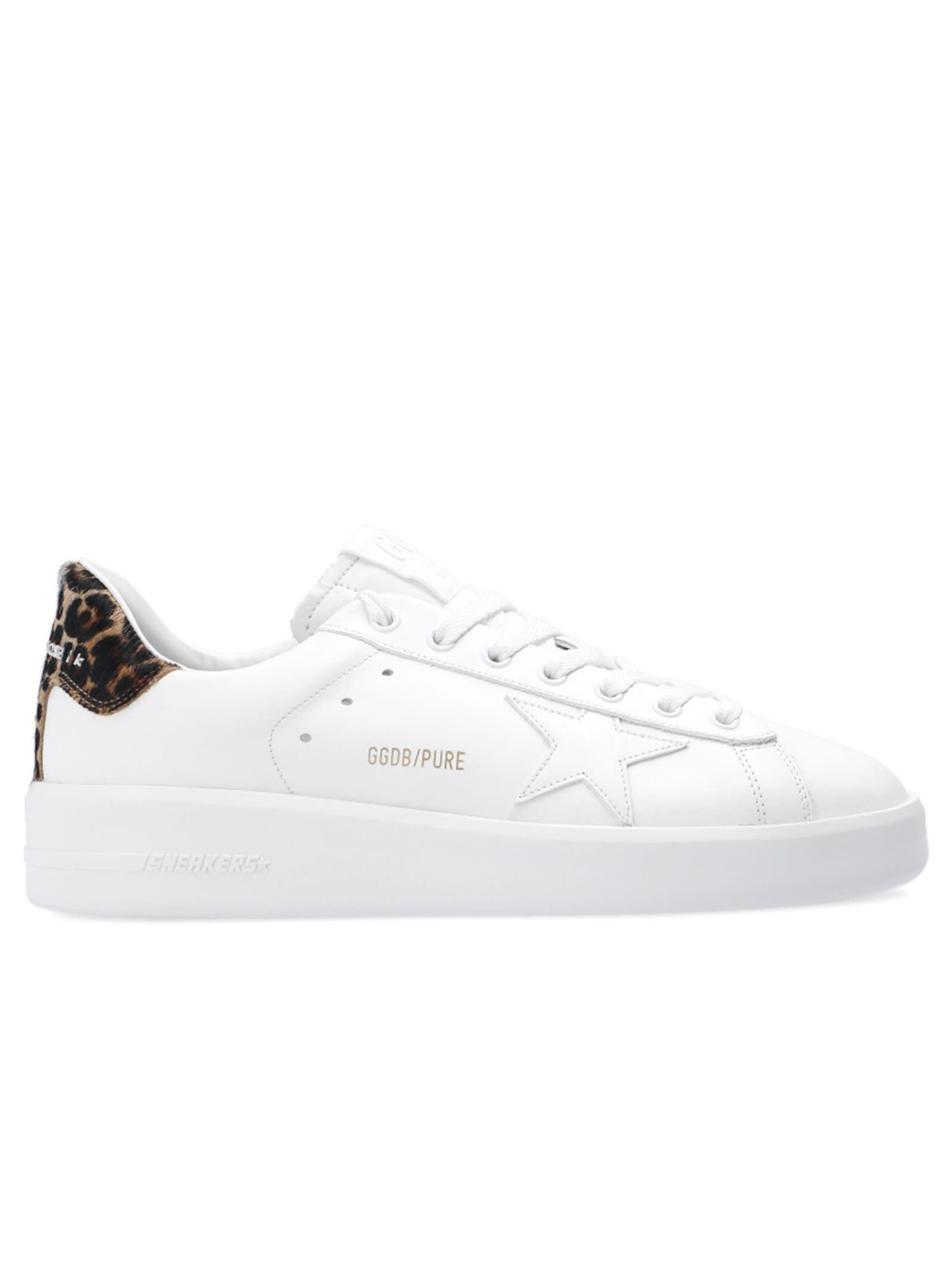 Golden Goose WHITE LEATHER PURE STAR SNEAKERS