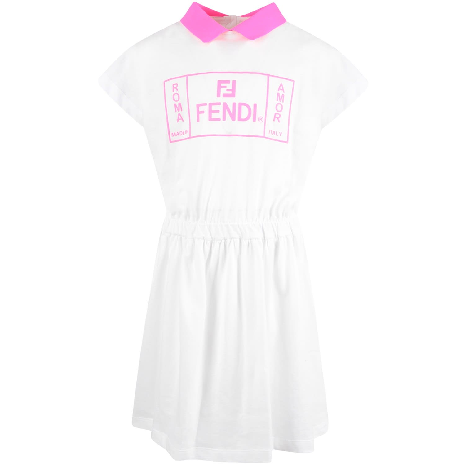Fendi White Girl Dress With Neon Fucshia Logo