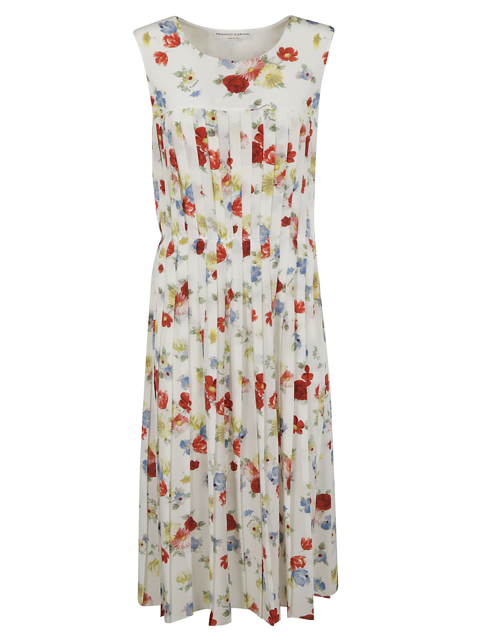 Buy Ermanno Scervino Sleeveless Pleated Floral Dress online, shop Ermanno Scervino with free shipping
