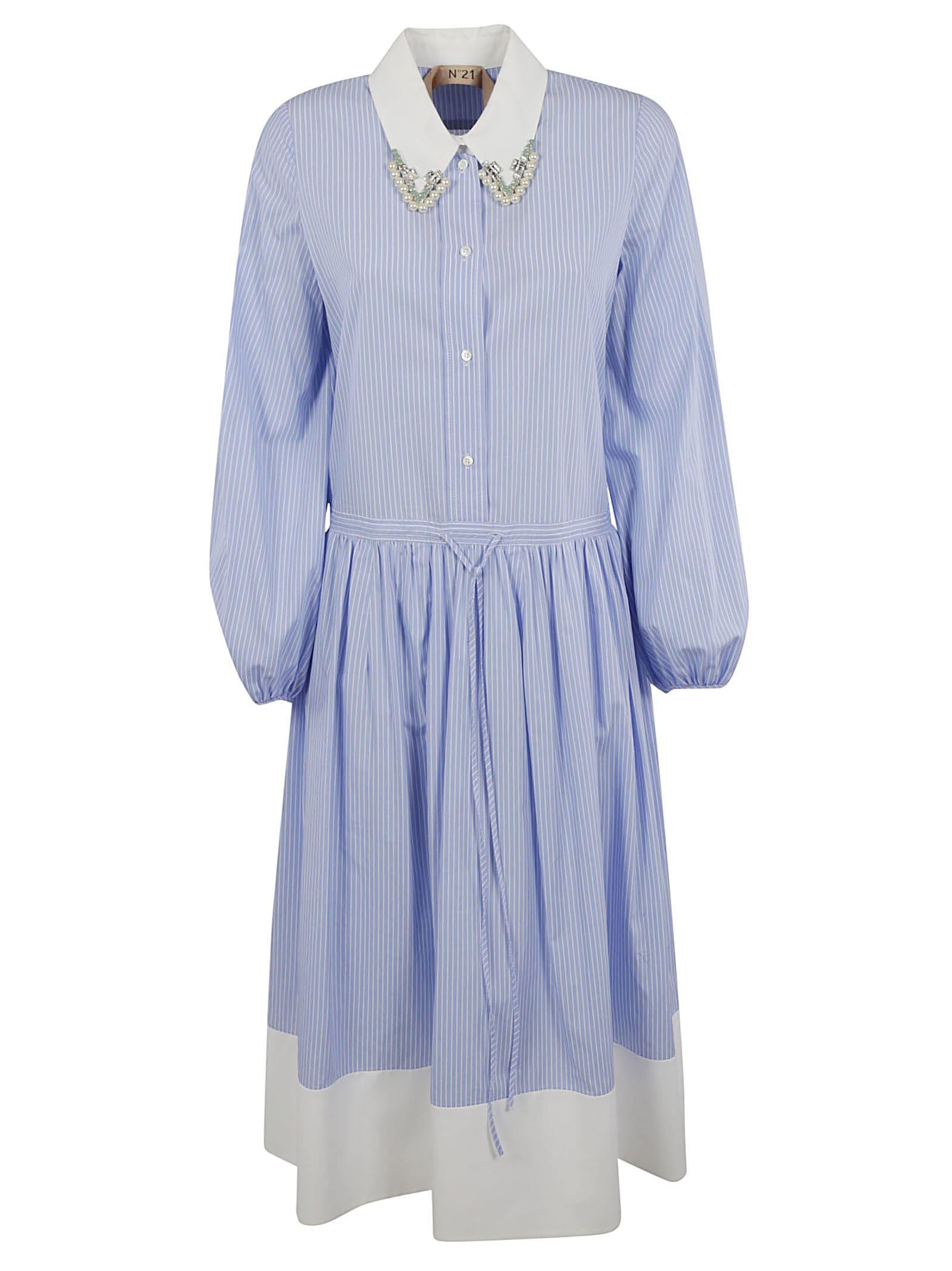 Buy N.21 Stripe Print Collar-embellished Dress online, shop N.21 with free shipping