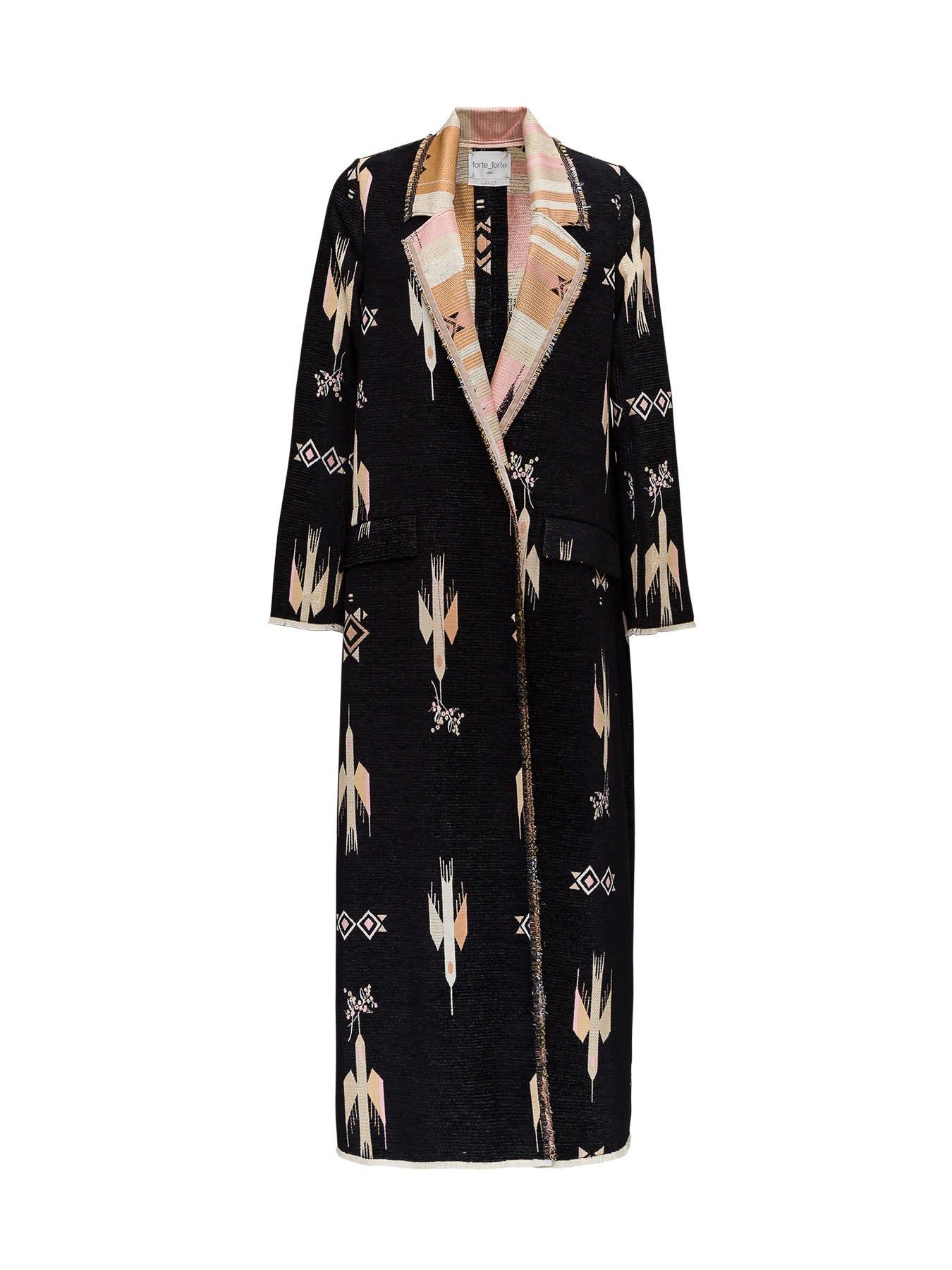 Single Breasted Jacquard Coat