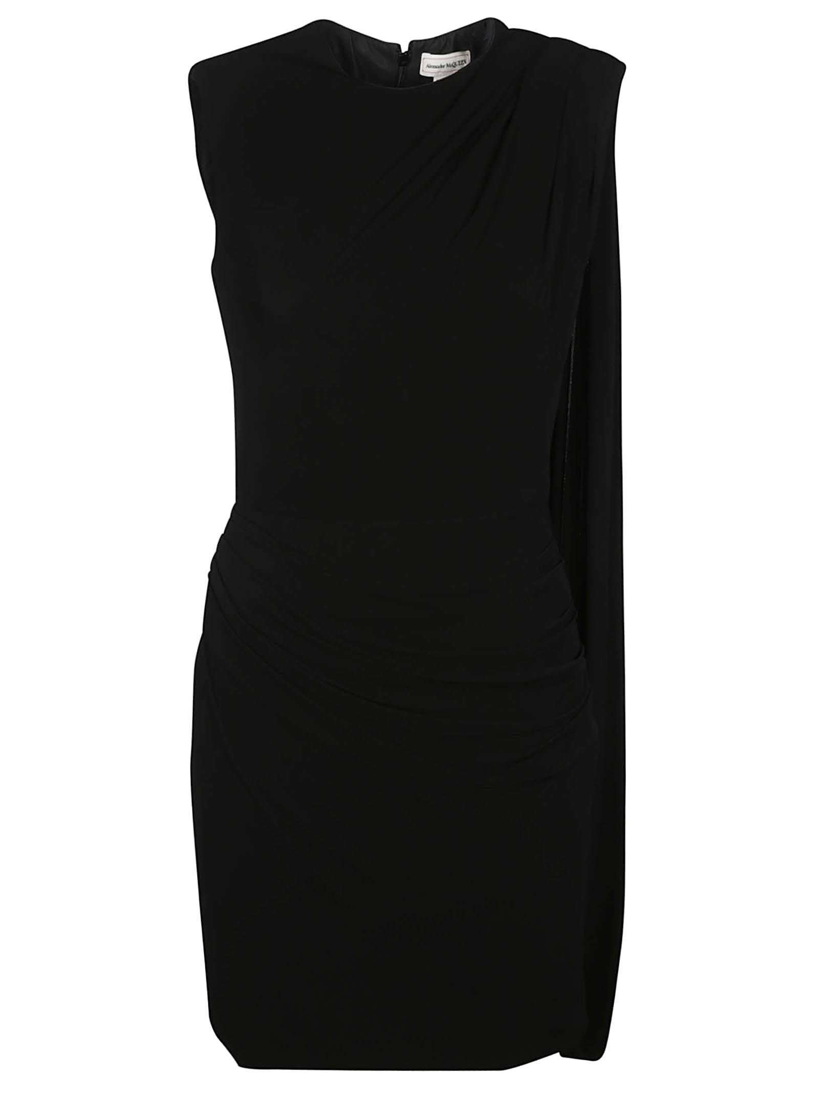 Buy Alexander McQueen Rear Zipped Sleeveless Plain Dress online, shop Alexander McQueen with free shipping