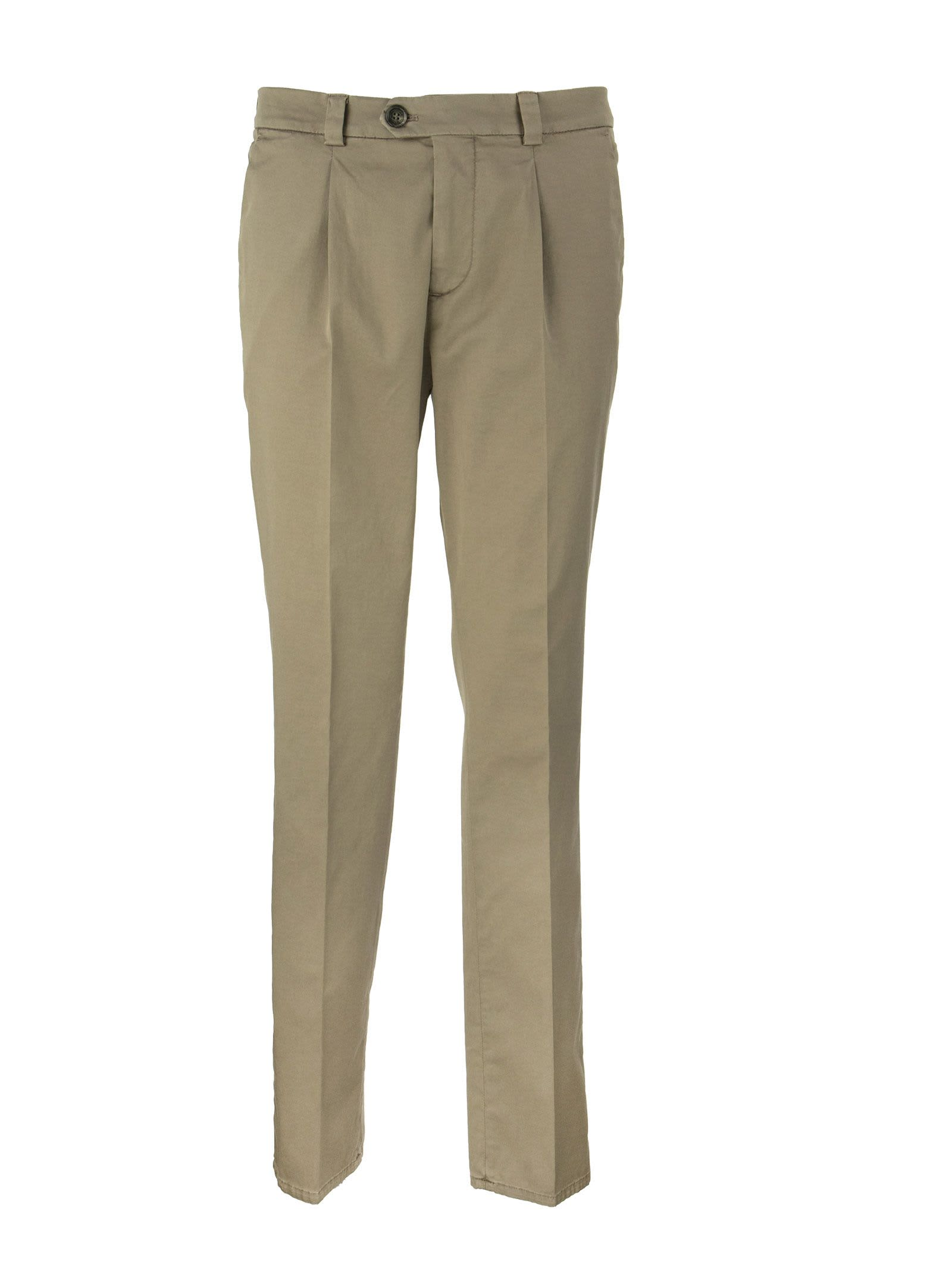 Brunello Cucinelli GARMENT-DYED LEISURE FIT TROUSERS IN AMERICAN PIMA COMFORT COTTON WITH PLEATS
