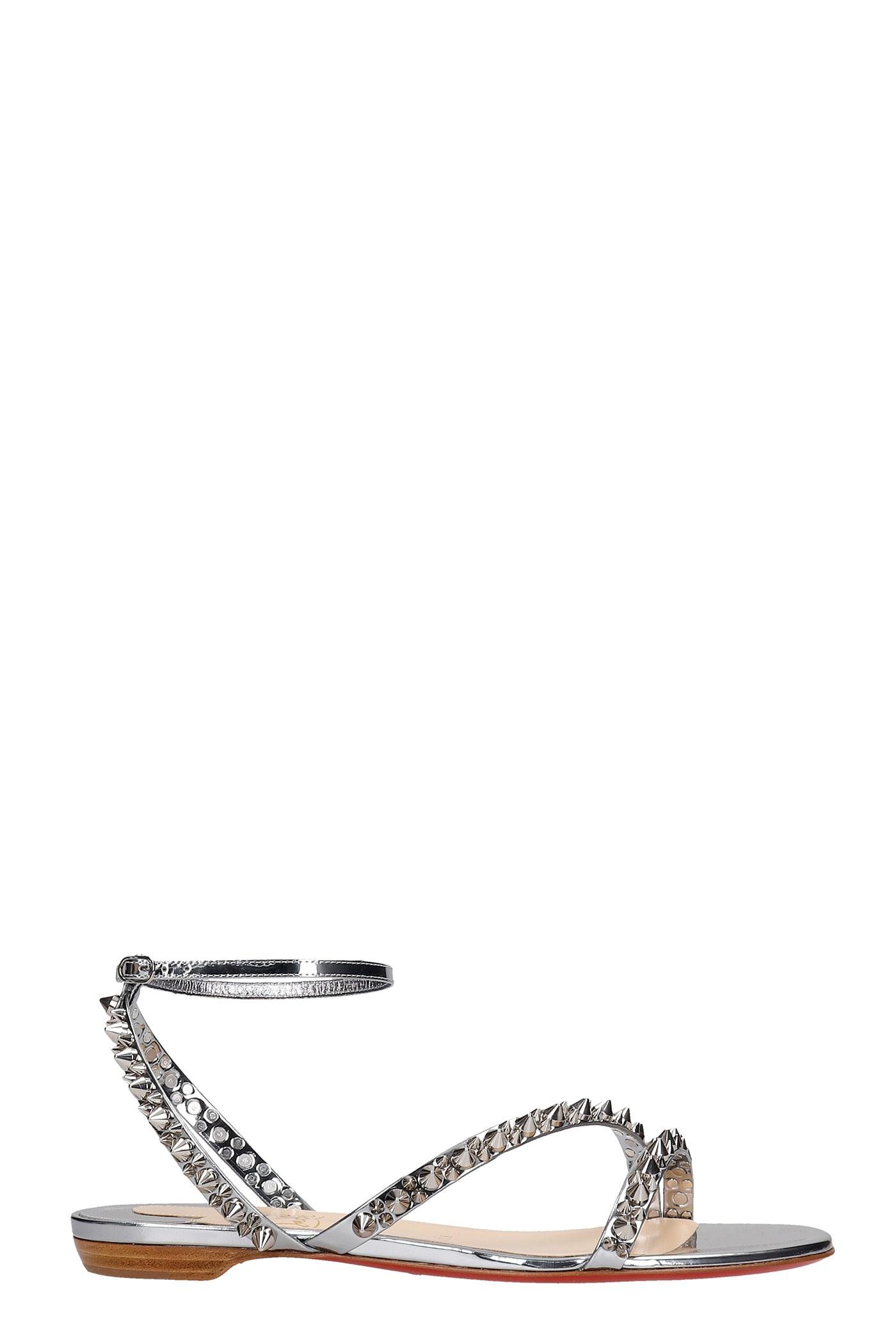 Buy Christian Louboutin Mafaldina Flats In Silver Leather online, shop Christian Louboutin shoes with free shipping
