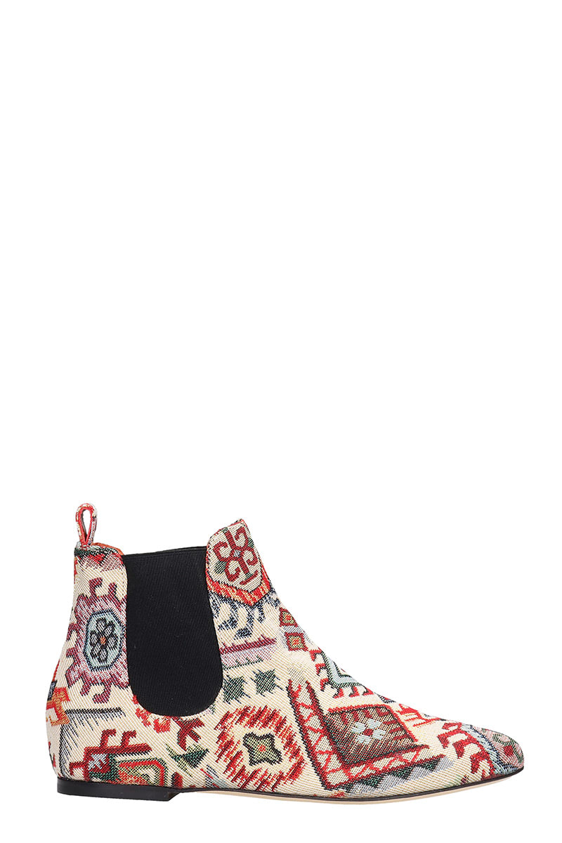 Bams LOW HEELS ANKLE BOOTS IN MULTICOLOR FABRIC
