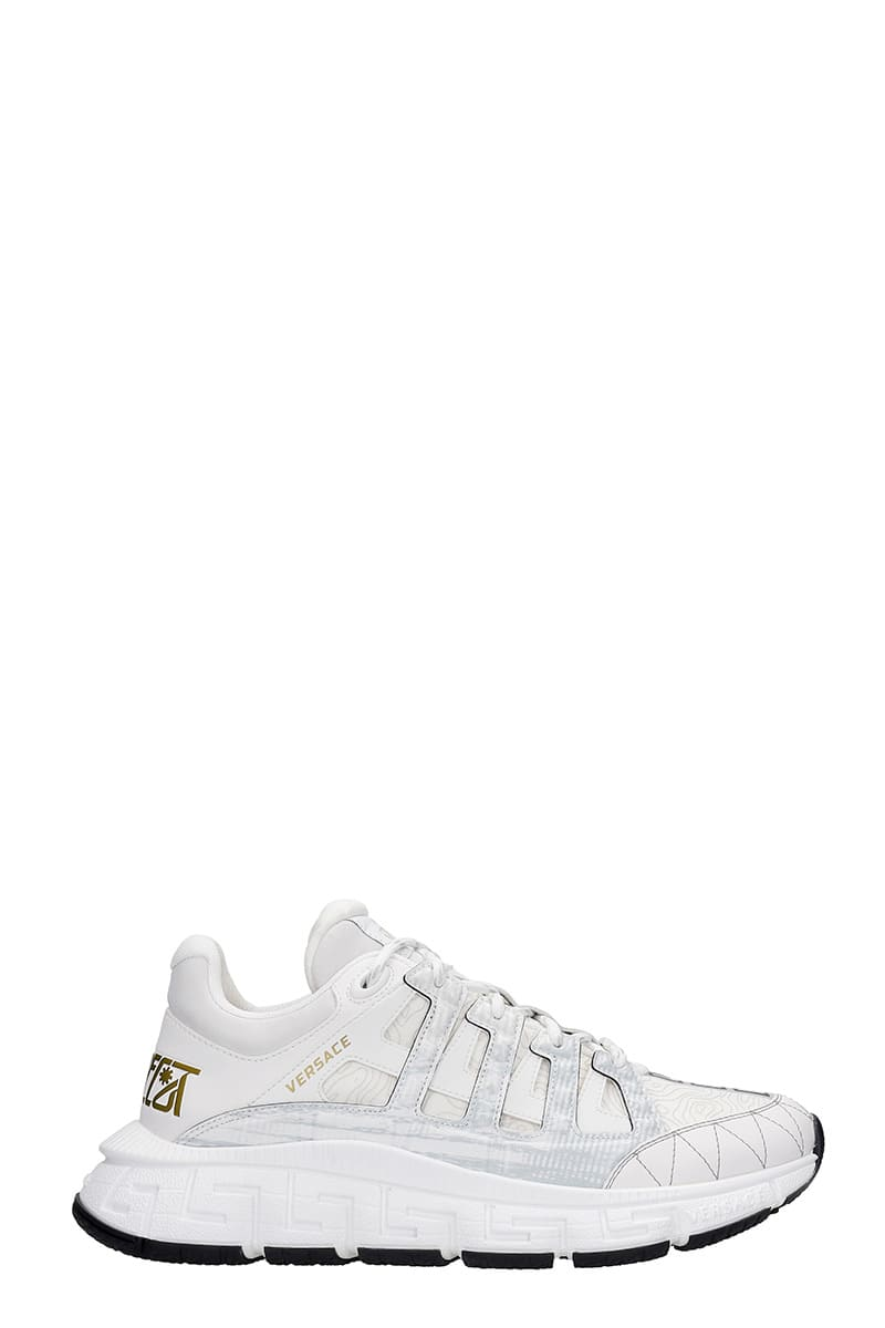 Versace TRIGRECA SNEAKERS IN WHITE SYNTHETIC FIBERS