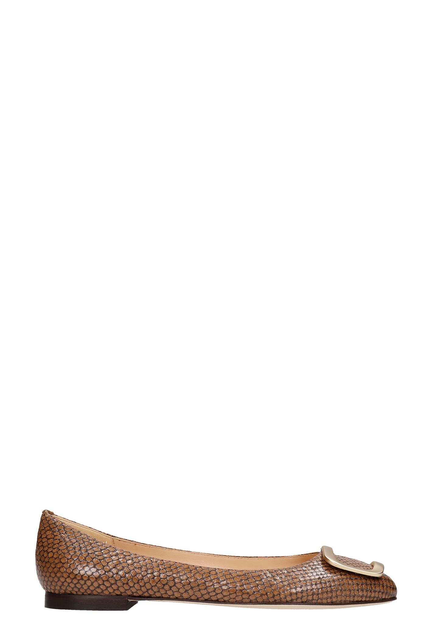 Ballet Flats In Brown Leather