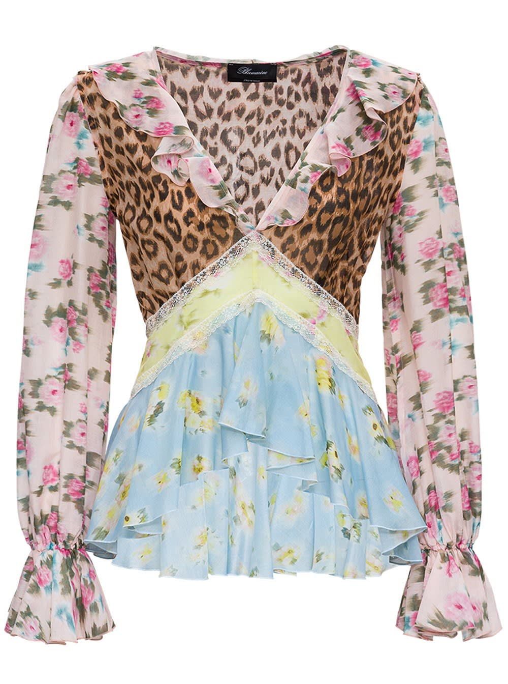 Blumarine PATCHWORK FLARED JERSEY AND SILK BLOUSE